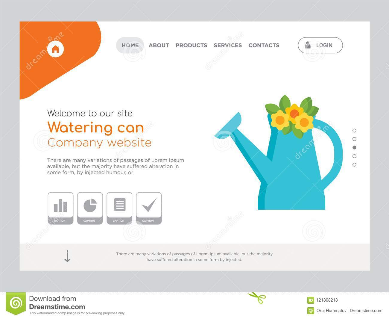 watering can website template vector modern web design with