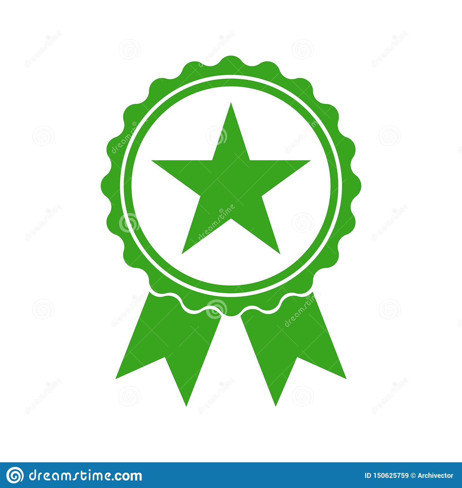 Quality medal green icon. Confirmatory sign