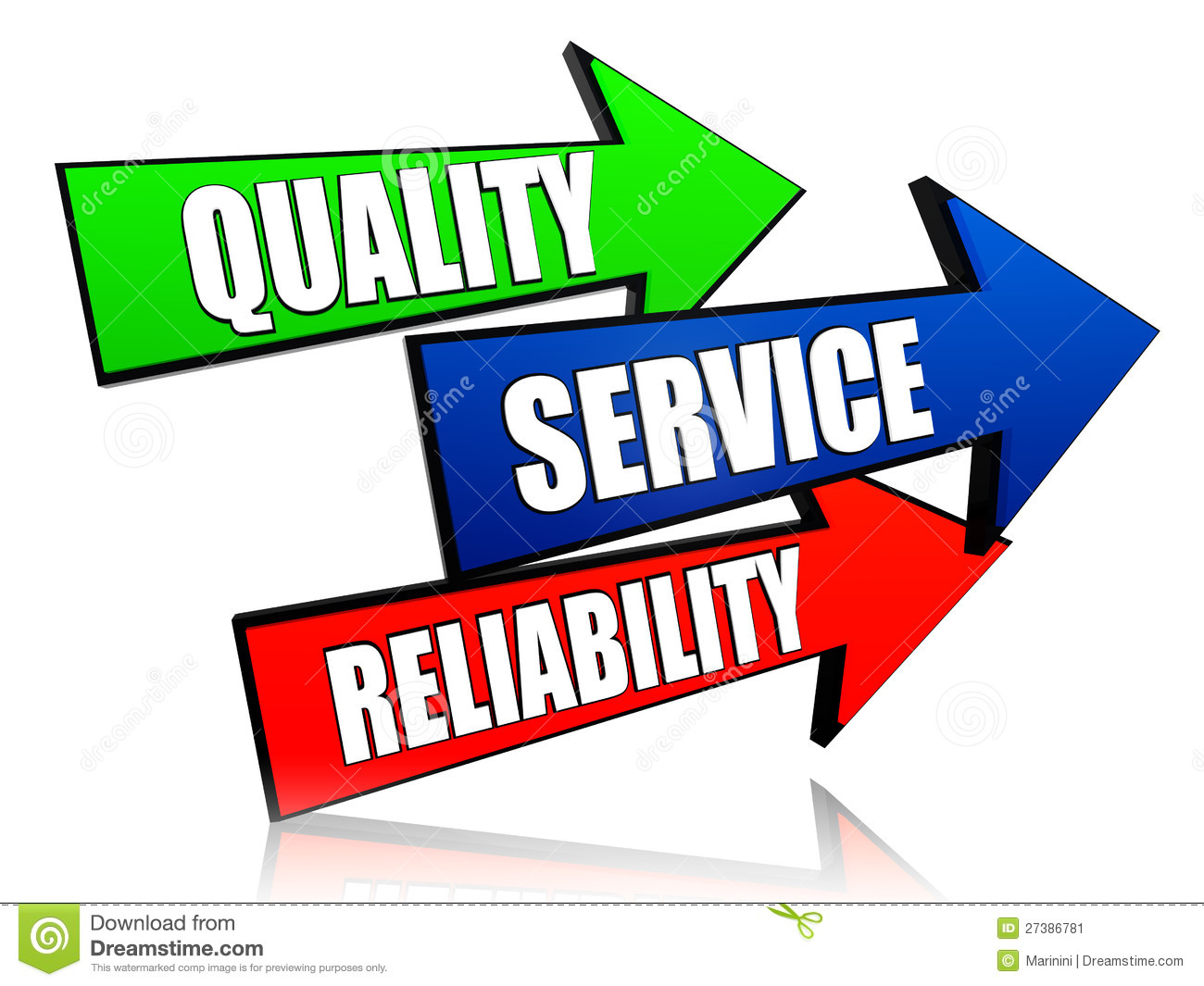 Quality, service, reliability - words in 3d colorful arrows with text.: www.dreamstime.com/stock-image-quality-service-reliability-arrows...