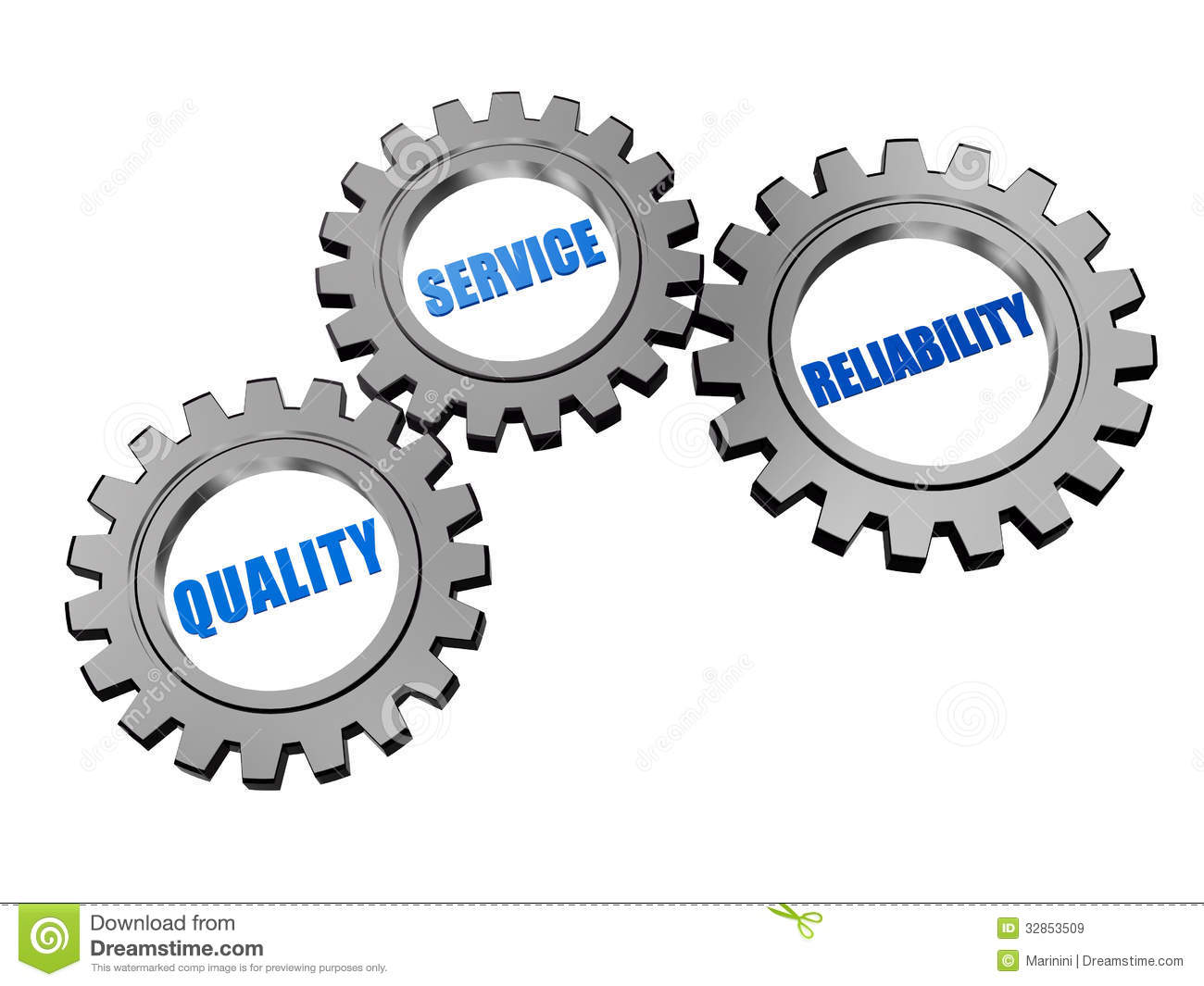Quality, Service, Reliability In Silver Grey Gears Royalty Free Stock ...