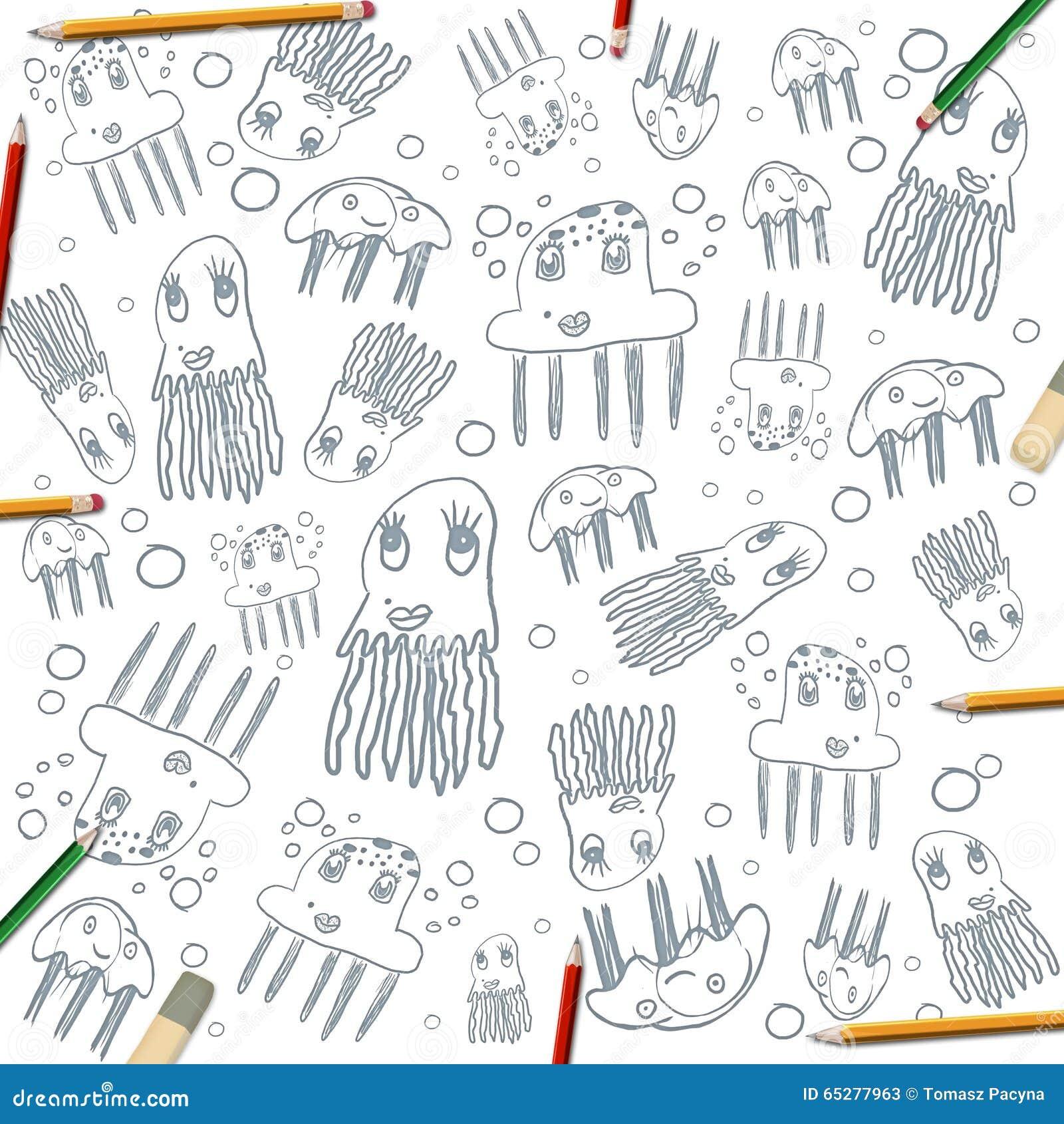 Quallen-Zeichnungsrahmen Der Kinder Auf Weiß Mit Farbe Zeichnet An ...