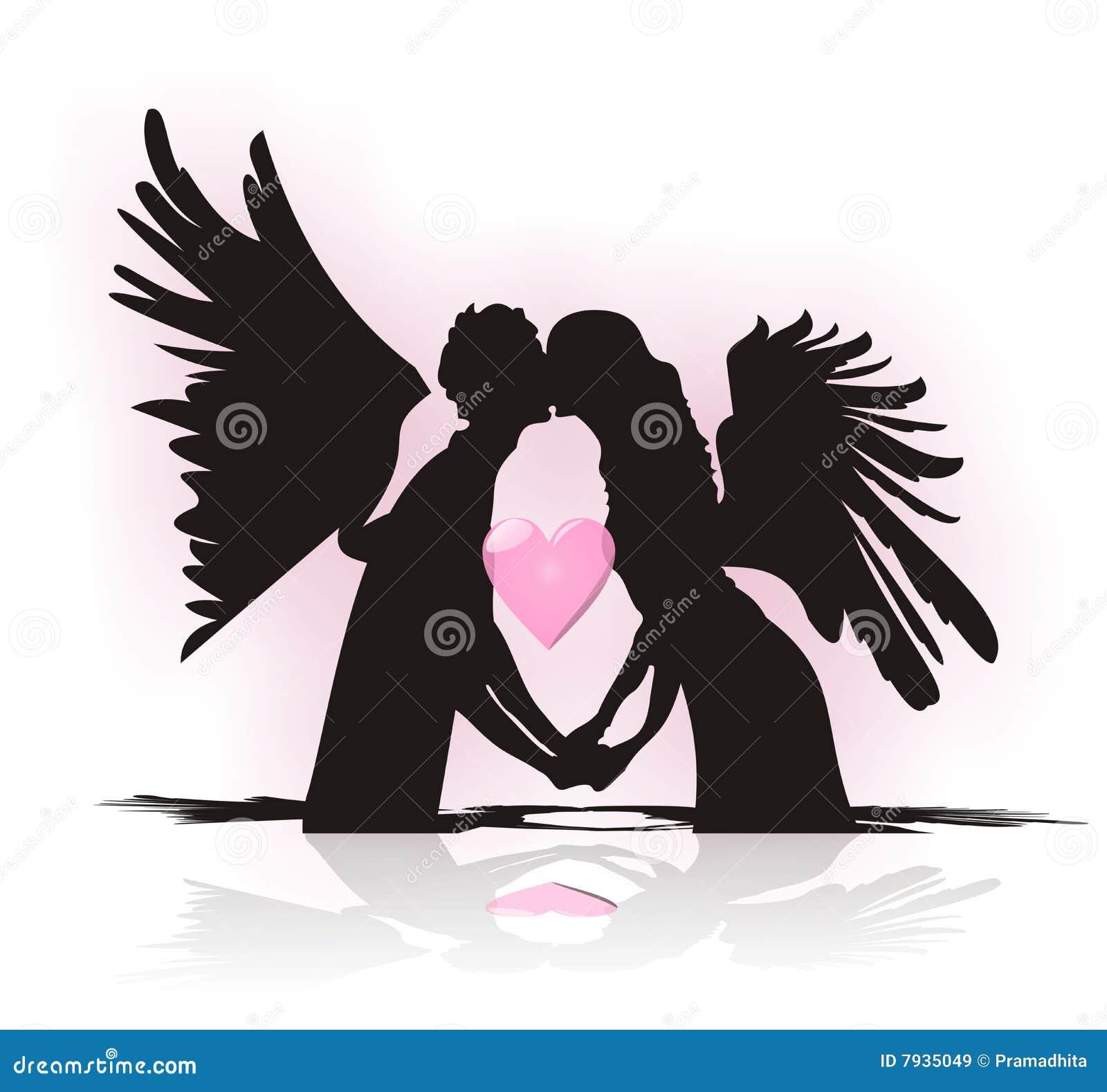 quand fait l 39 automne d 39 ange dans l 39 amour illustration de vecteur illustration du ange tomber. Black Bedroom Furniture Sets. Home Design Ideas