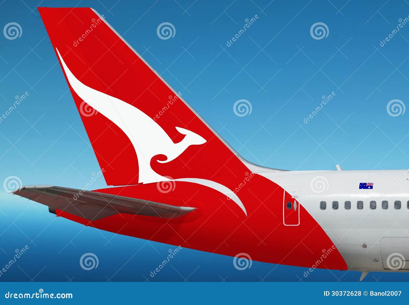 Quantas Logo Australiano Di Linea Aerea Sull Aereo