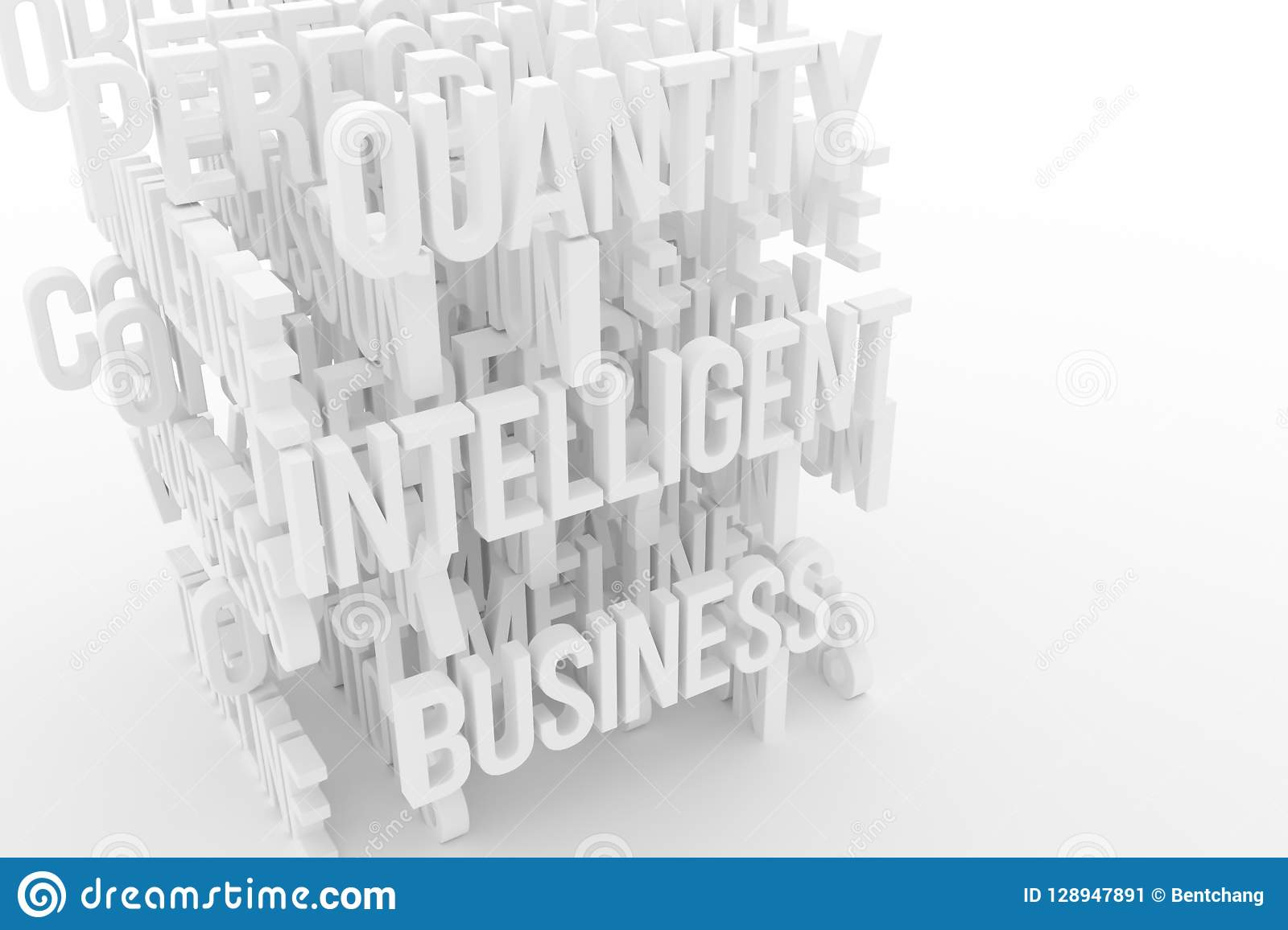 Quantity, Intelligence, business conceptual gray or black and white B&W 3D rendered words. Title, alphabet, style & caption.