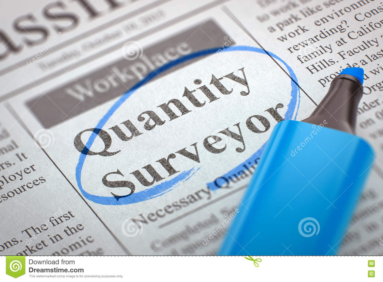 Quantity Surveyor Wanted  3D  Stock Image - Image of experience
