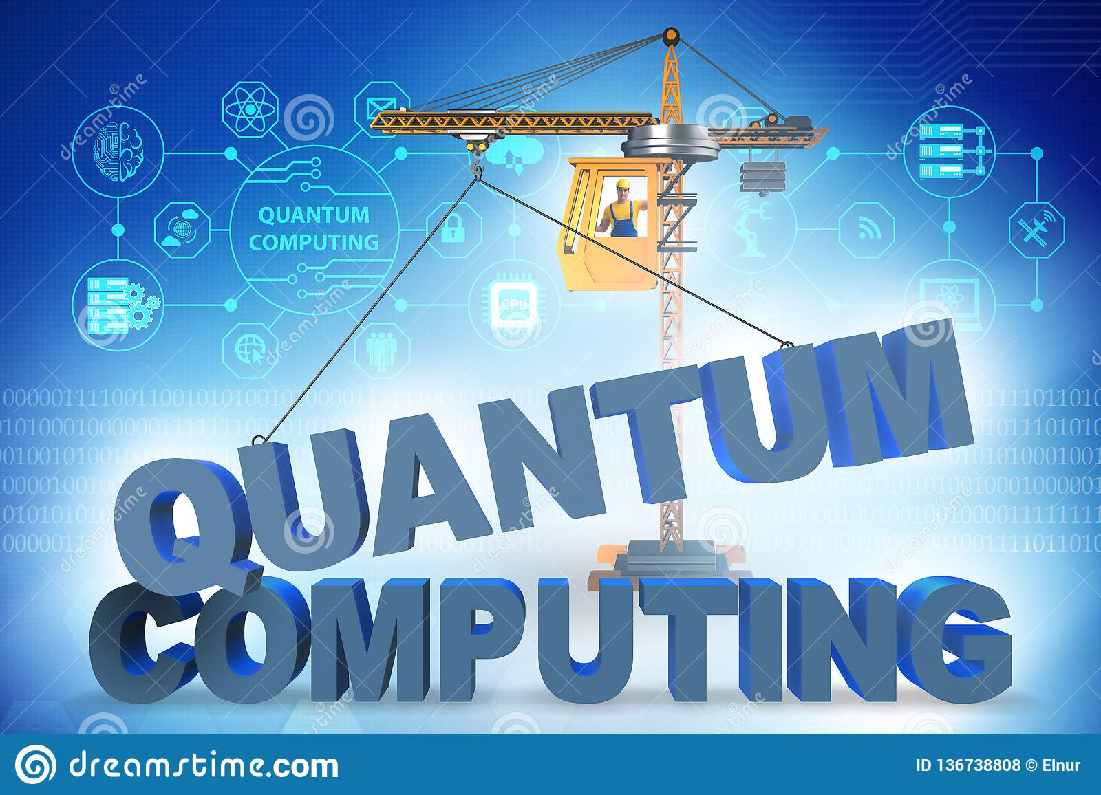 The Quantum Computing Concept - 3d Rendering Stock Photo