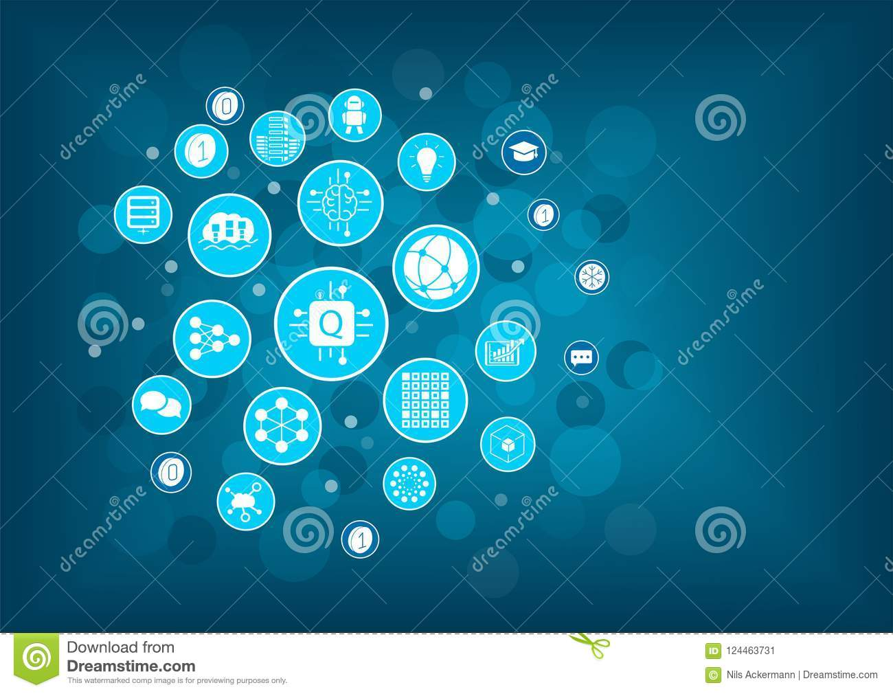 Quantum computing vector illustration as example for digital innovation. Icons arranged as light bulb