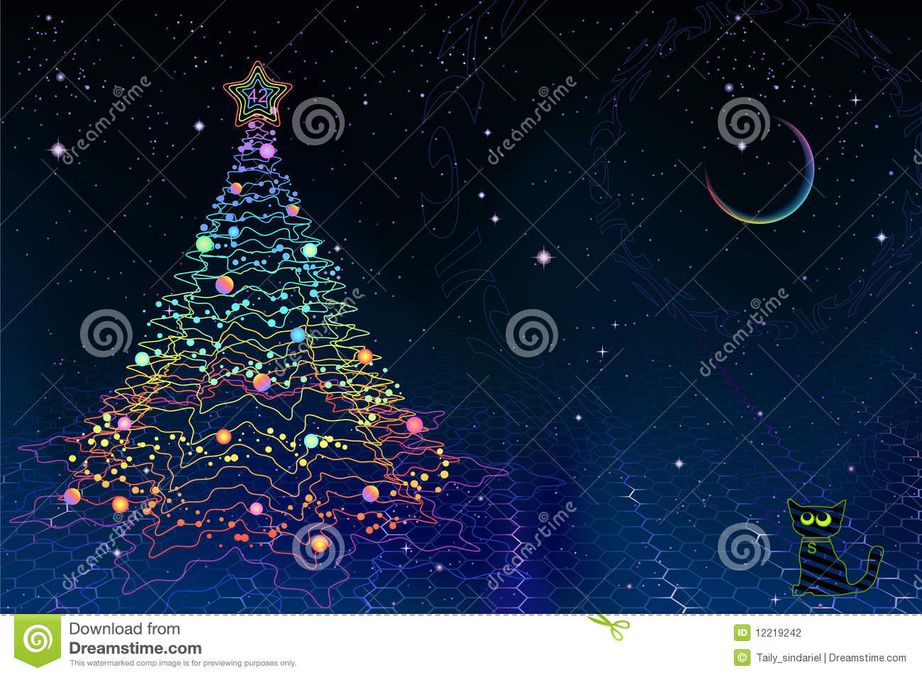 Quantum Physics Christmas Card Stock Photography Image