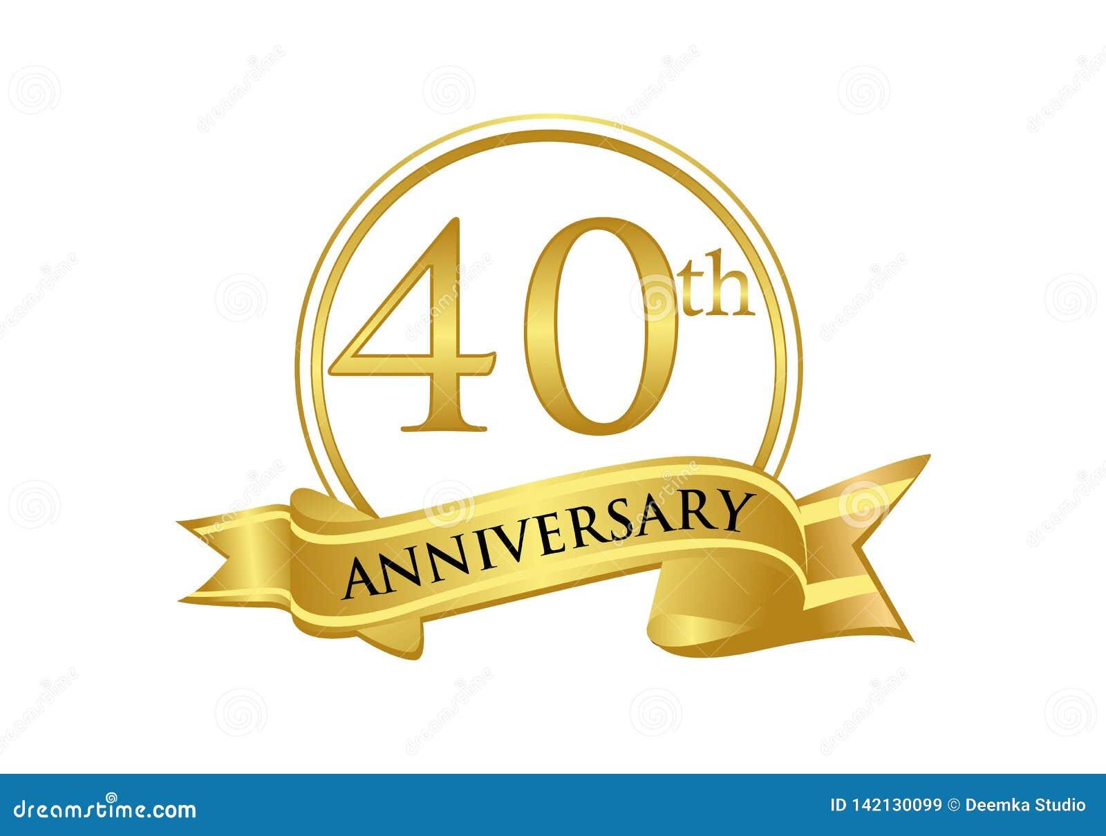Quarantième vecteur de logo de célébration d anniversaire