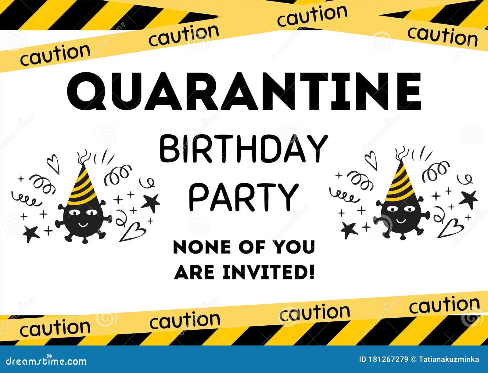 Quarantine Birthday Party Invitation Yellow Black Birthday Card With Symbol Coronavirus Home Online Party Banner Stock Illustration Illustration Of Happy Background 181267279