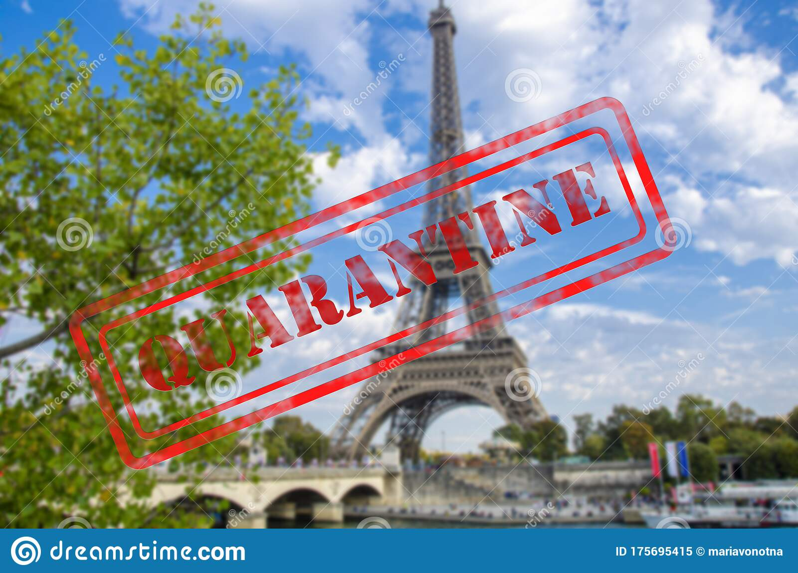 Quarantine Sign Over Eiffel Tower In Paris France Stock Image Image Of Danger Care 175695415