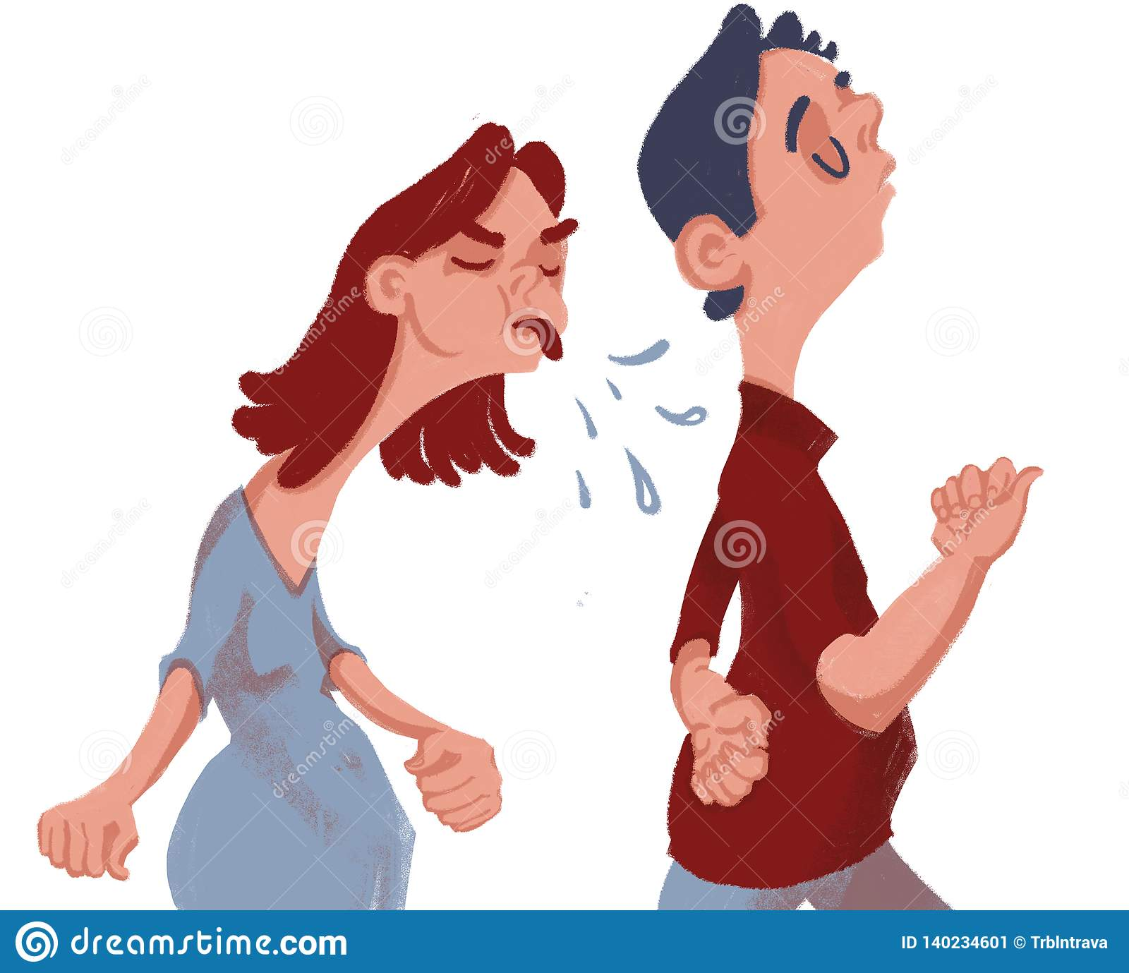 Quarrel. The girl is angry and takes offense at the guy