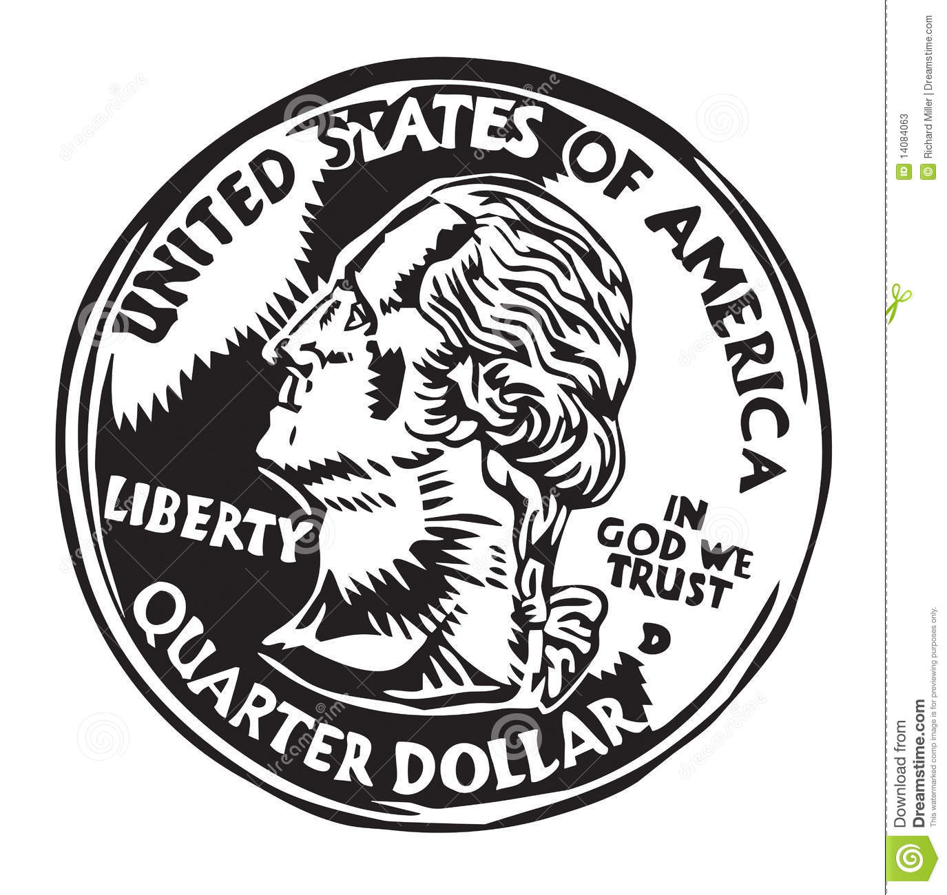 Black and white illustration  U.s. Coins Black And White
