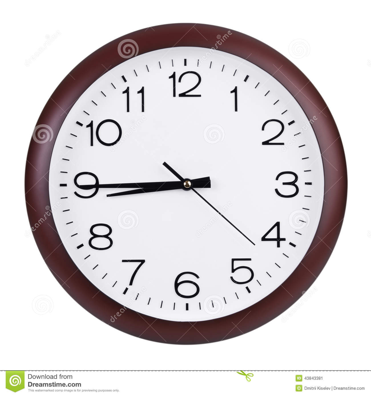 Quarter To Nine On A Dial Stock Photo Image 43843381