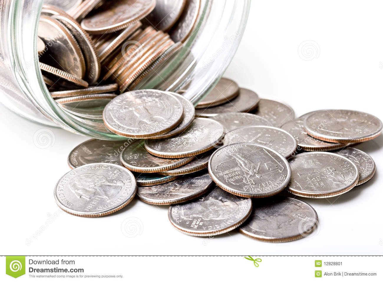 Quarters 25 Cents Change Coins In A Glass Jar Stock Images - Image ...