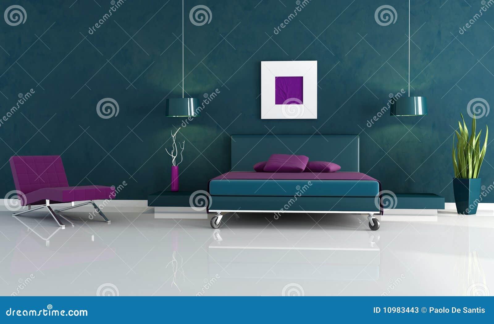 Quarto Azul E Roxo Moderno Fotos de Stock Imagem
