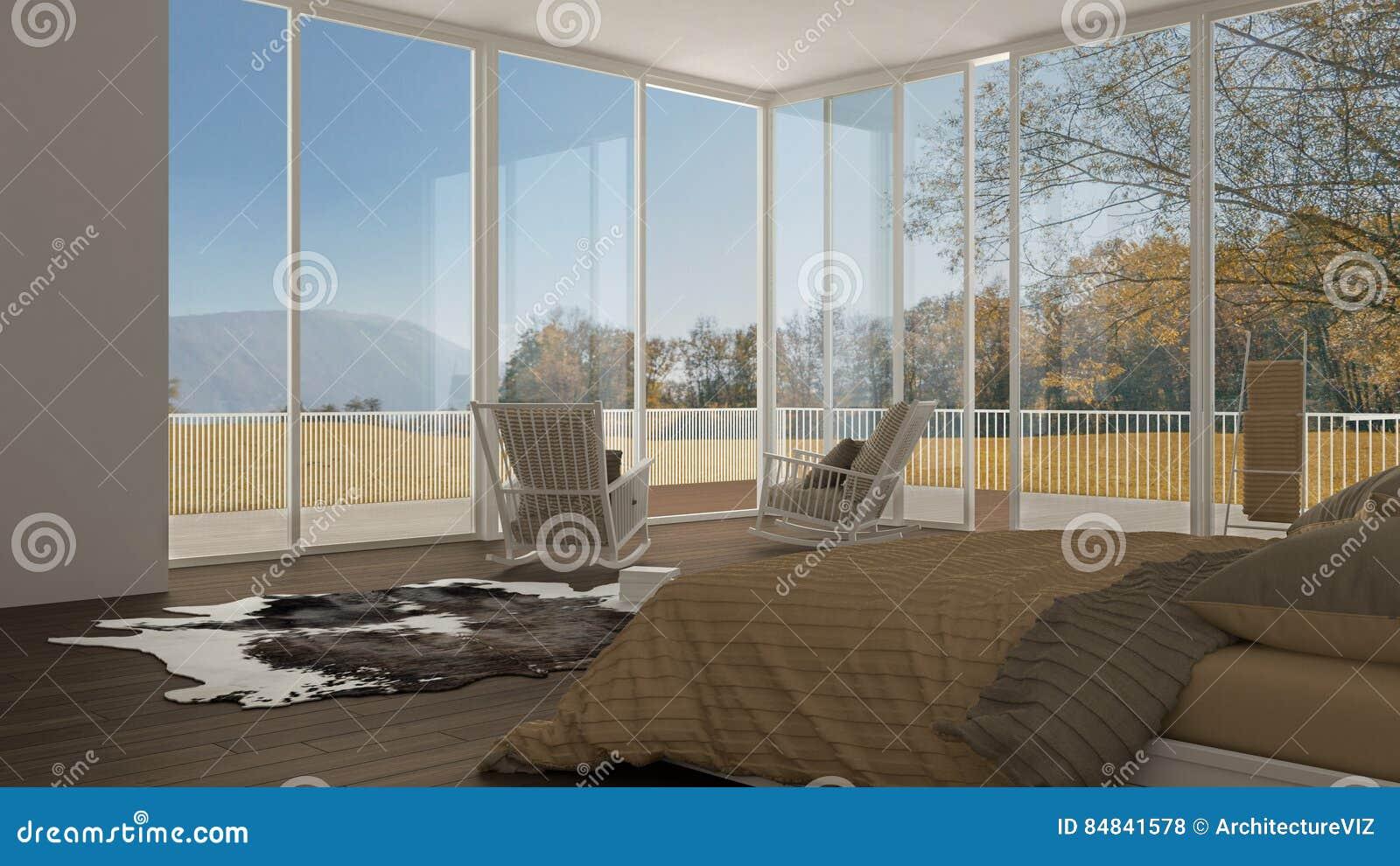 Quarto clássico, design de interiores branco minimalistic, janelas grandes