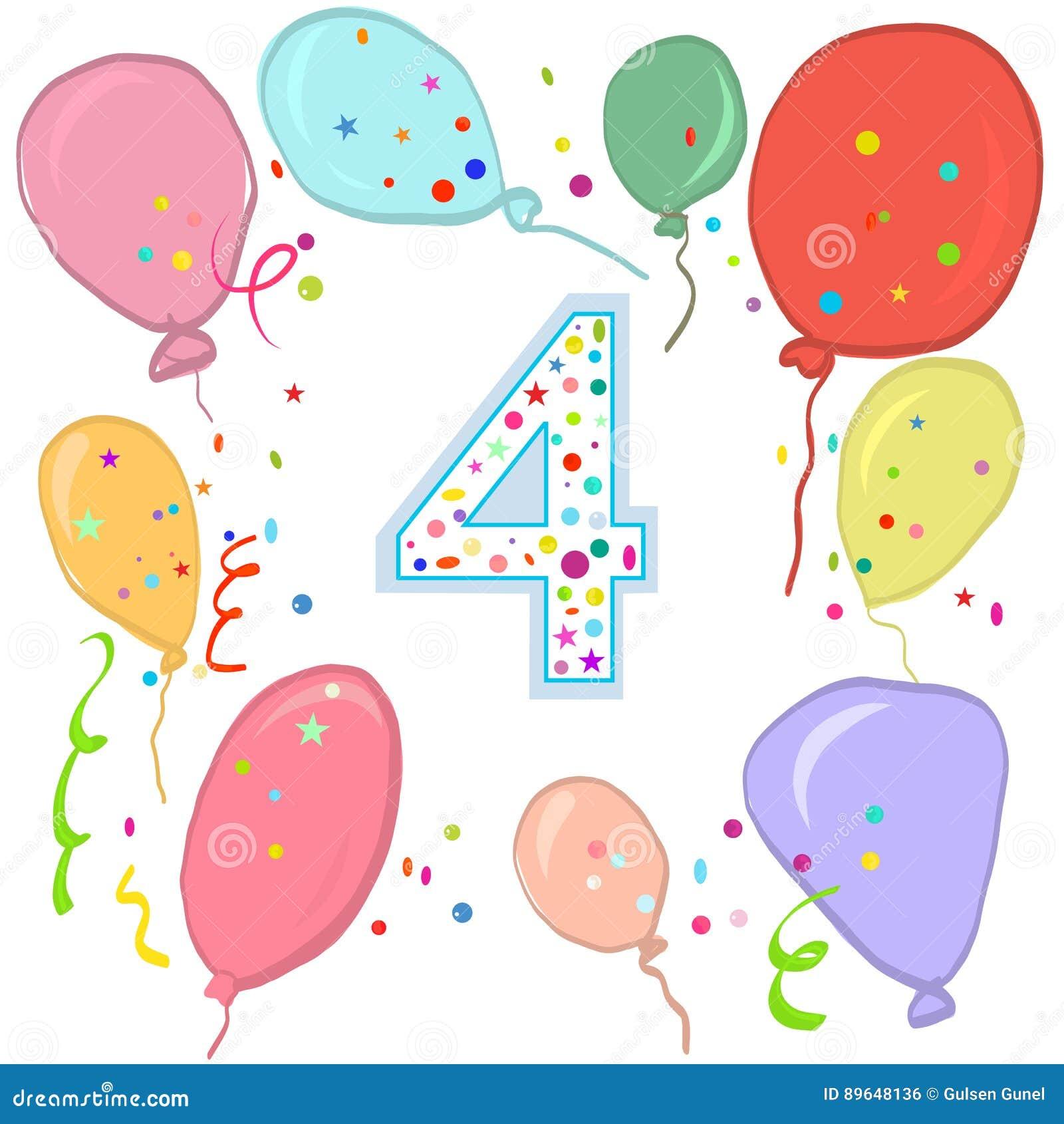 Quarto Compleanno Felice Cartolina D'auguri Variopinta Del Pallone