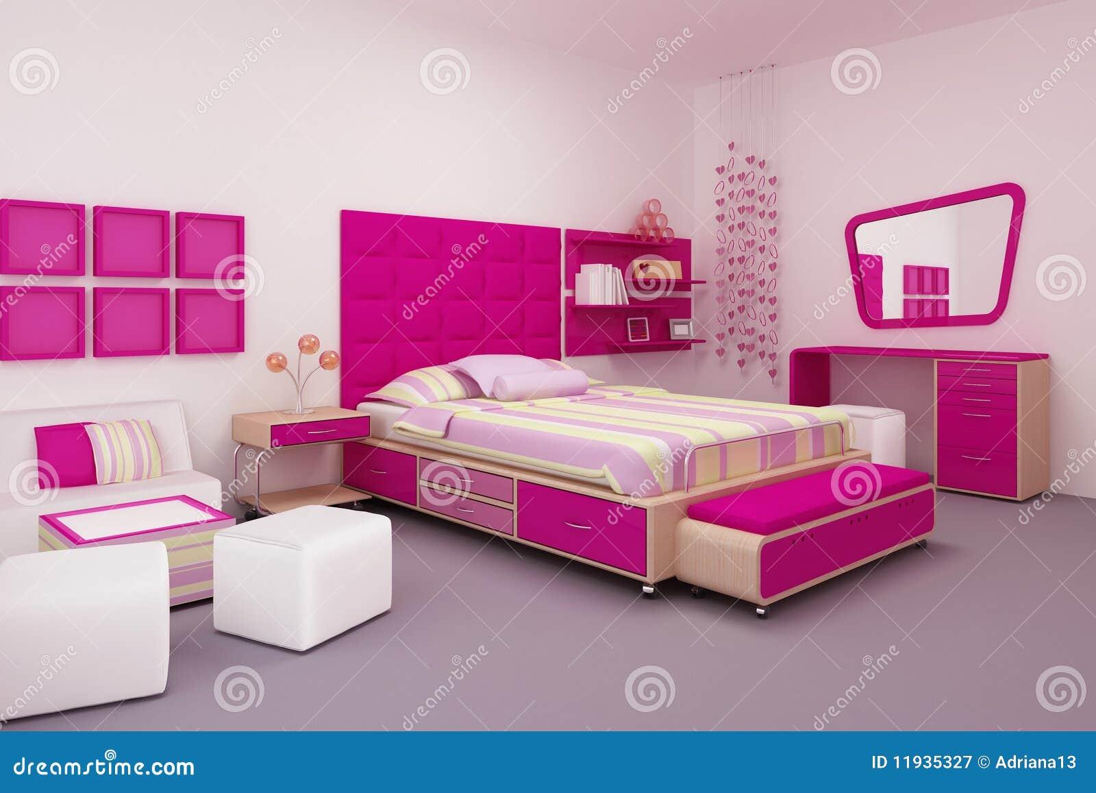 Quarto da menina ilustra o stock imagem de interior for Chambre a coucher prix