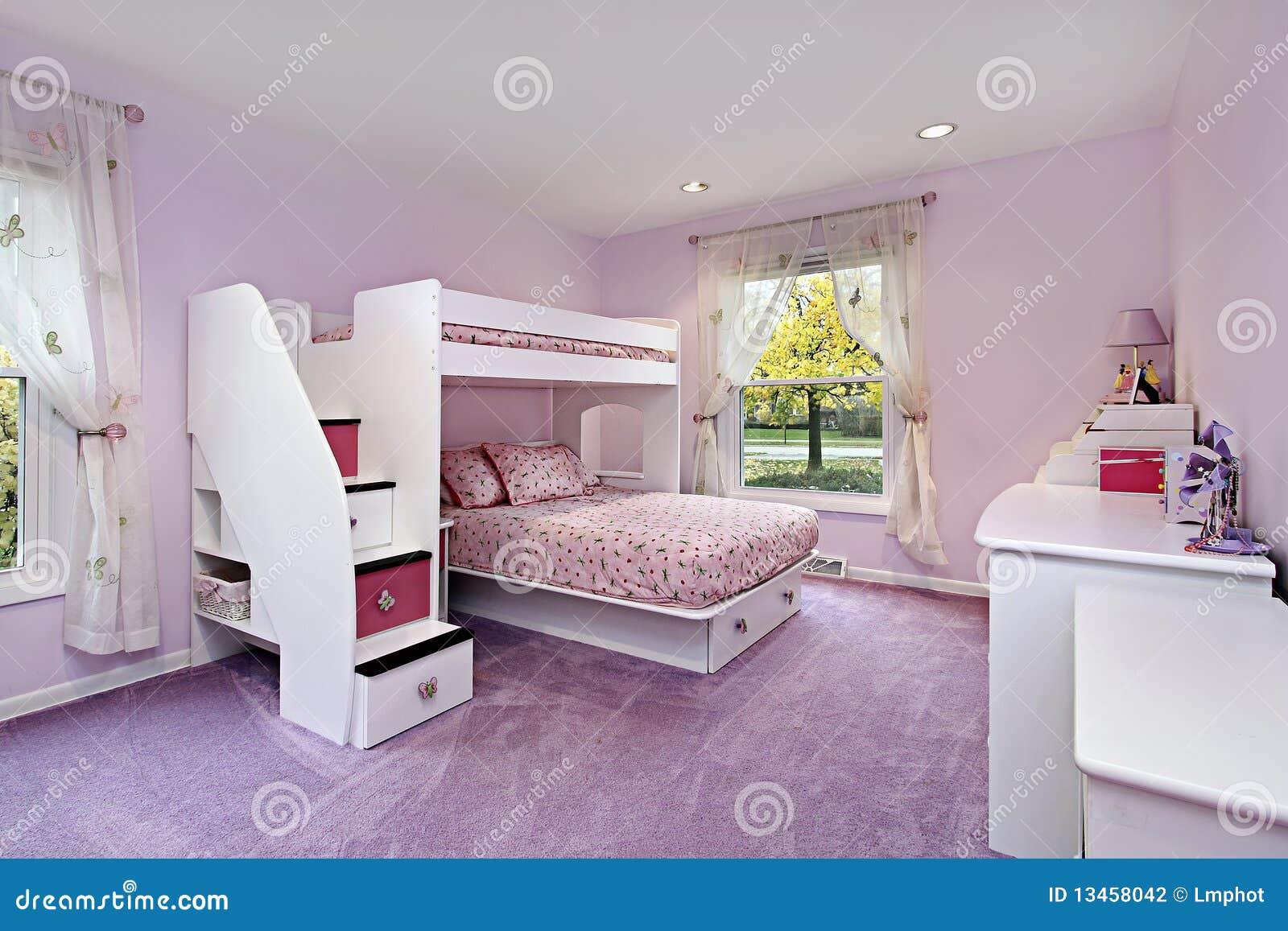 Lighting Home Decor Quarto Da Menina Com Cama De Beliche Fotografia De Stock