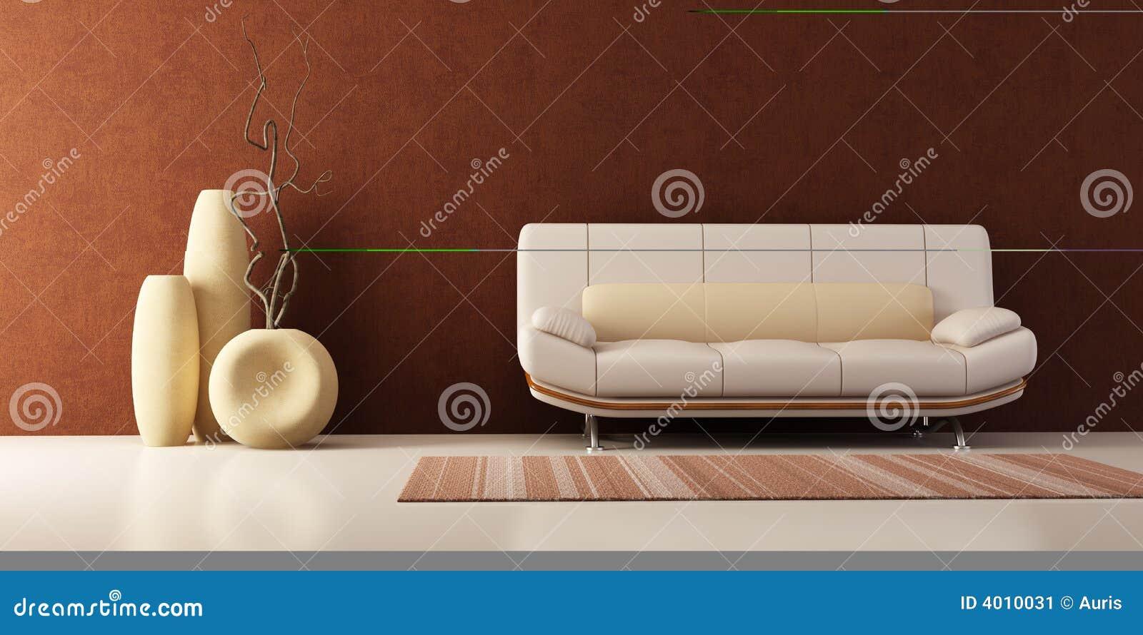 Quarto da sala de estar com sof e vasos imagem de stock for Sala de estar com um sofa