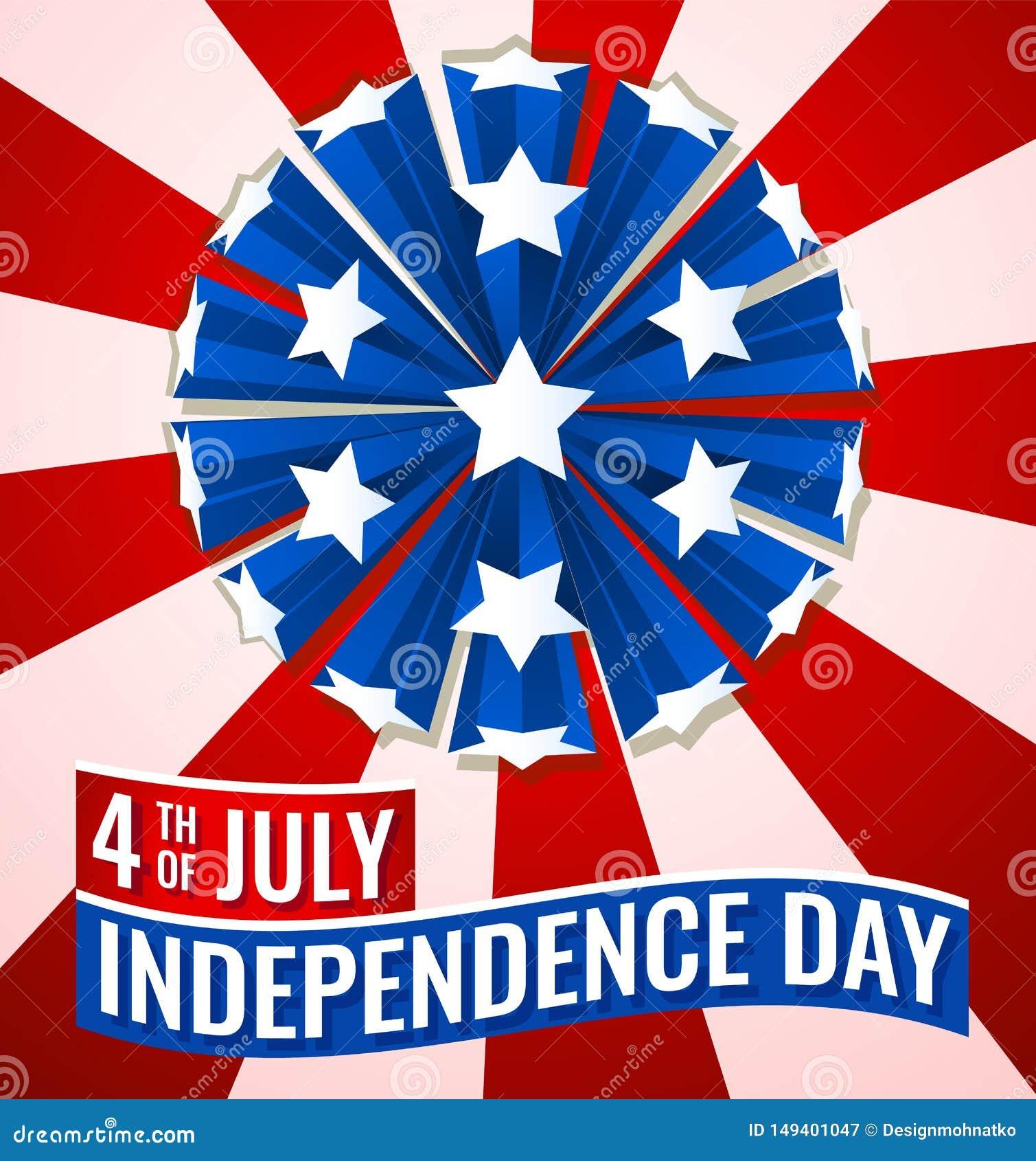 Quarto dell illustrazione dell insegna della bandiera di festa dell indipendenza luglio di U.S.A.