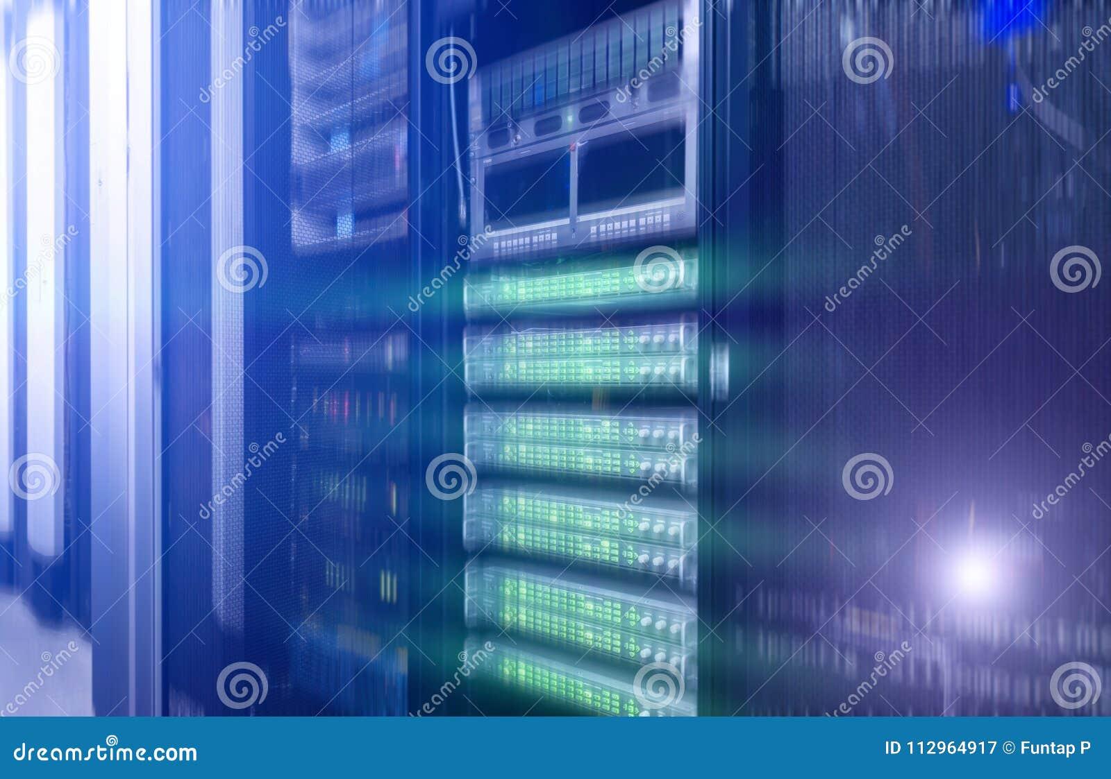 Quarto do server de rede Projeto futurista do techno