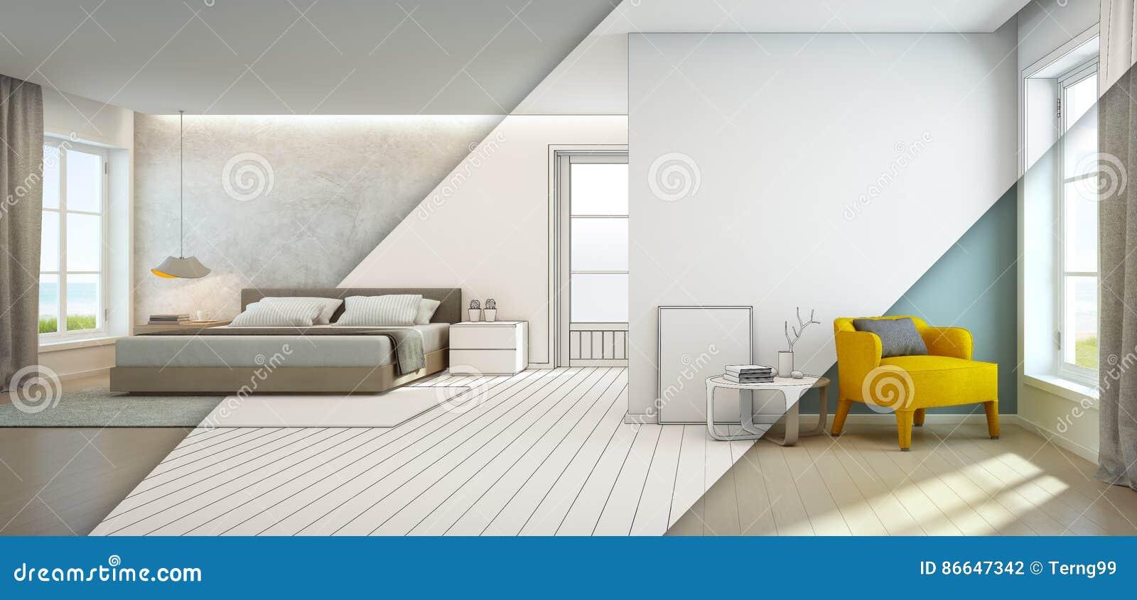 Quarto e sala de visitas da opinião do mar na casa de praia luxuosa, interior moderno da casa de férias