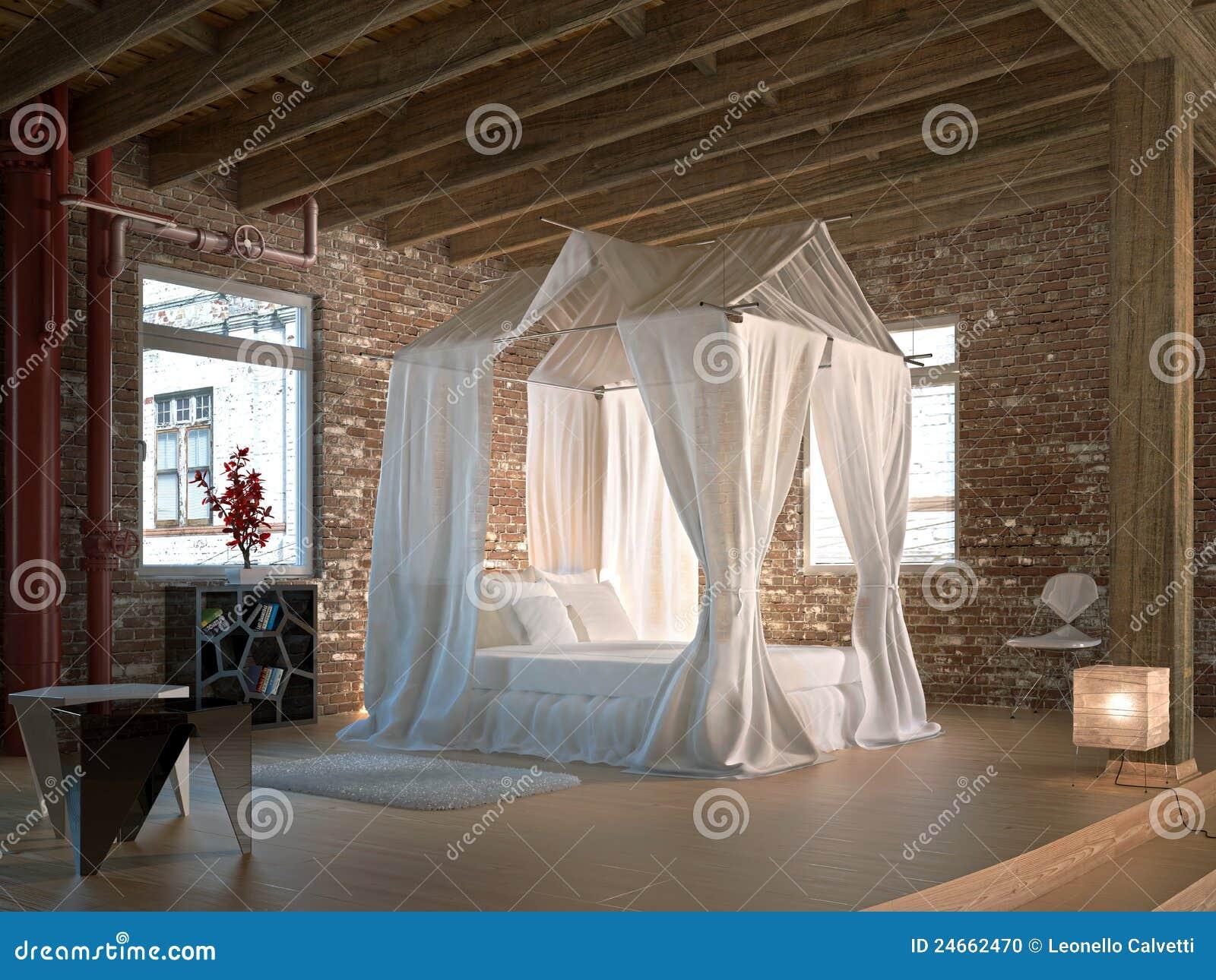 Quarto luxuoso do sotão, com a cama de quatro posteres.