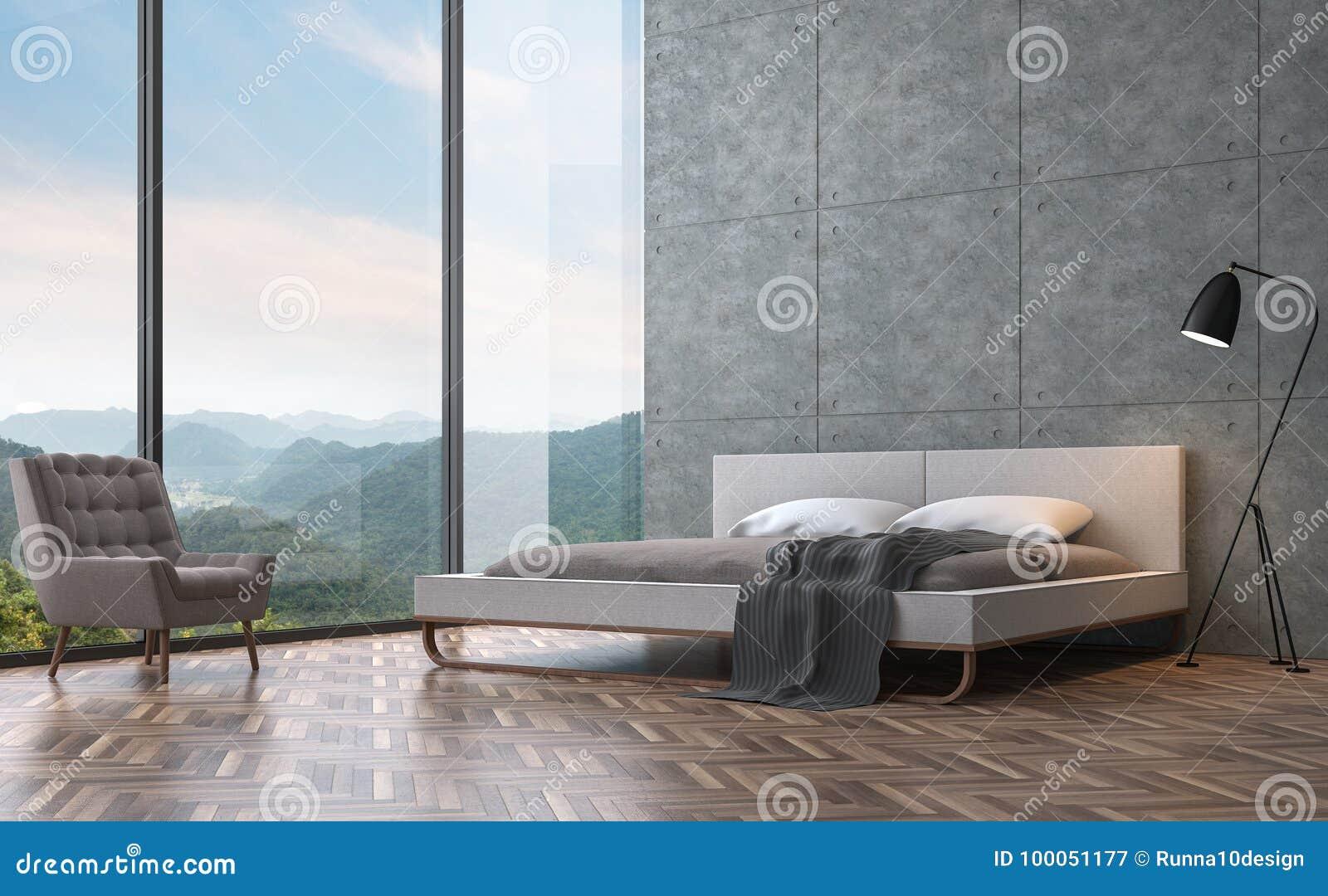 Quarto moderno do estilo do sótão com imagem da rendição do Mountain View 3D