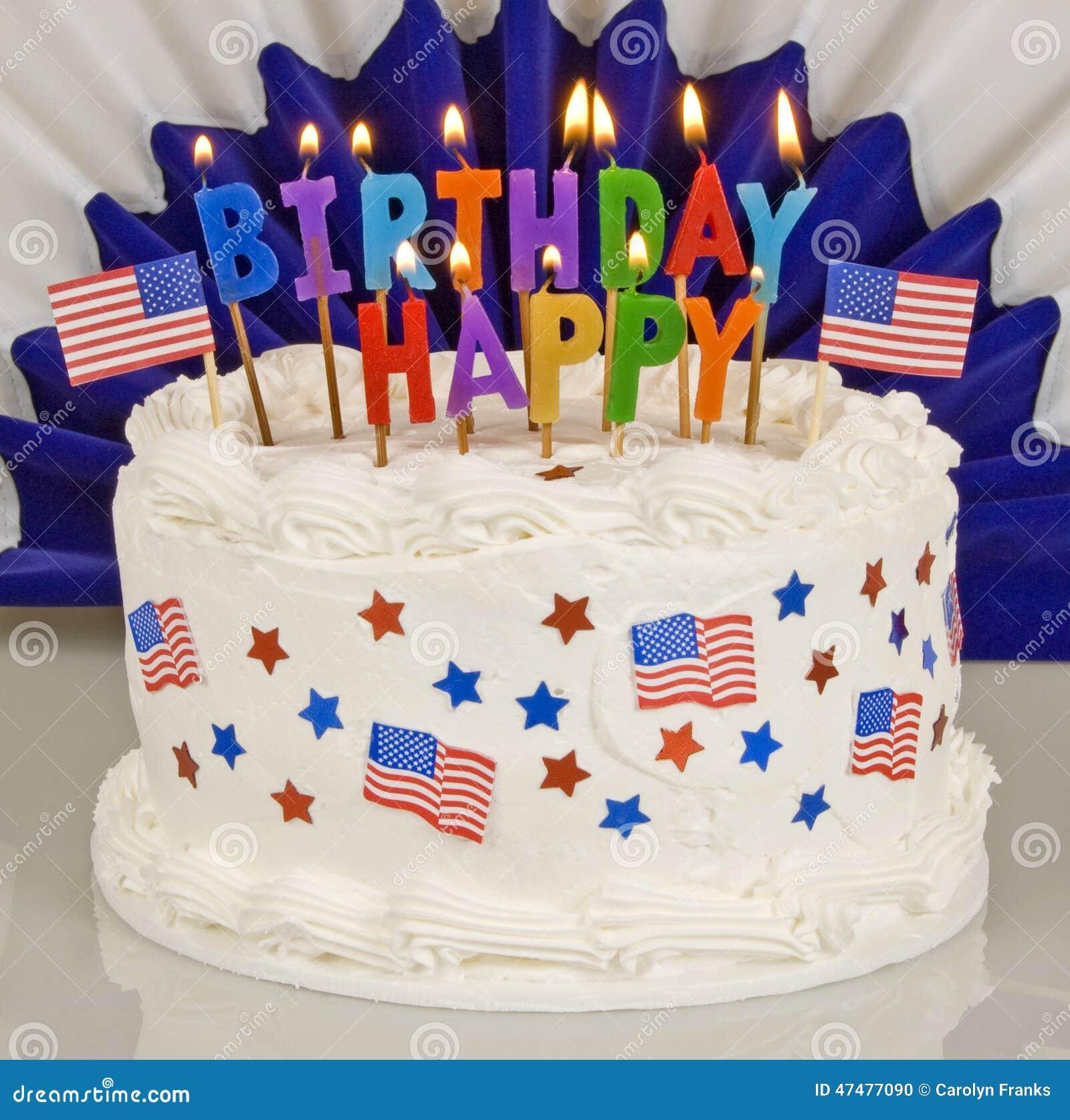 Quarto Patriottico Della Torta Di Compleanno Di Luglio