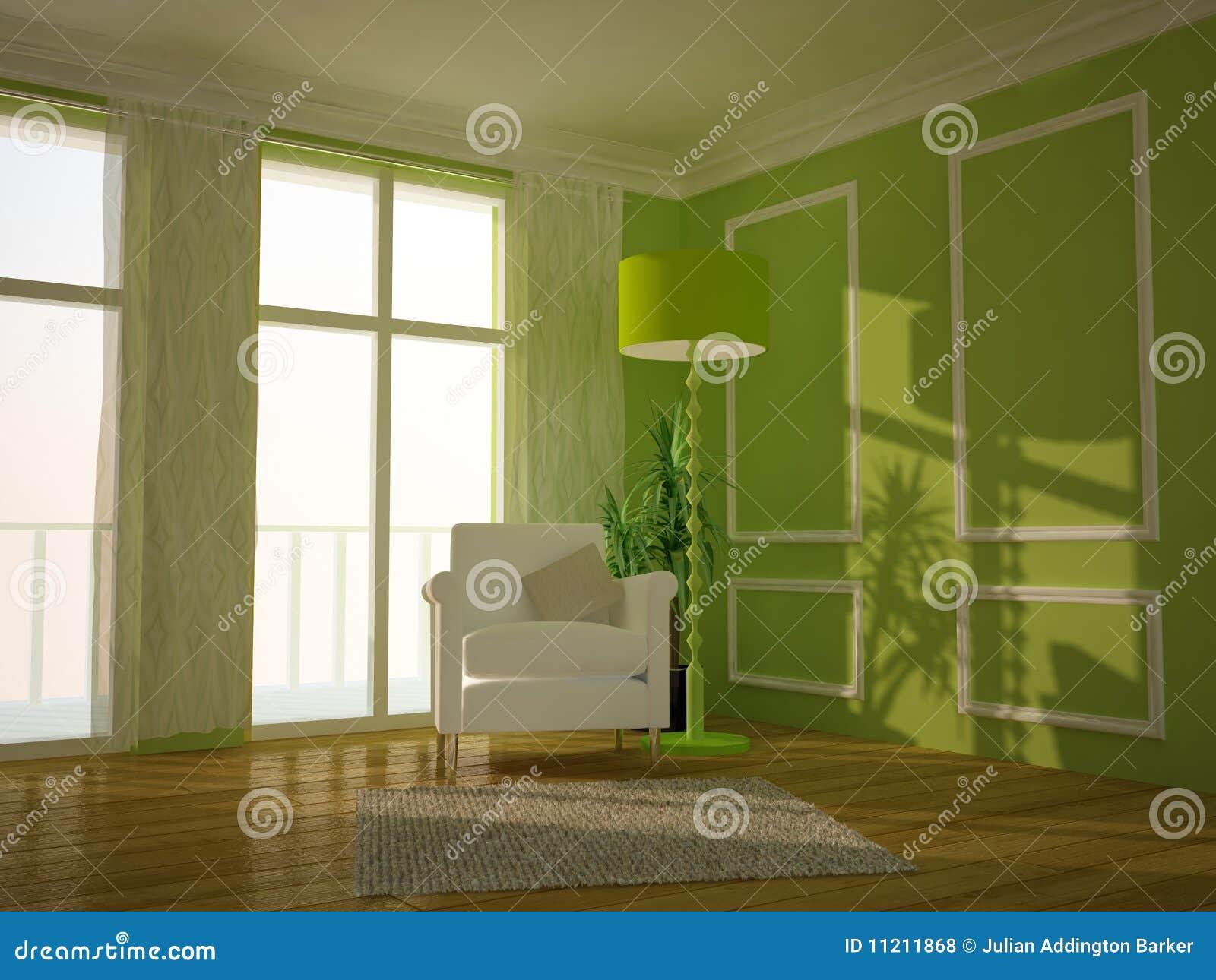 Sala De Estar Pintada De Verde ~ Quarto Tradicional Verde Da Sala De Estar Fotos de Stock Royalty Free