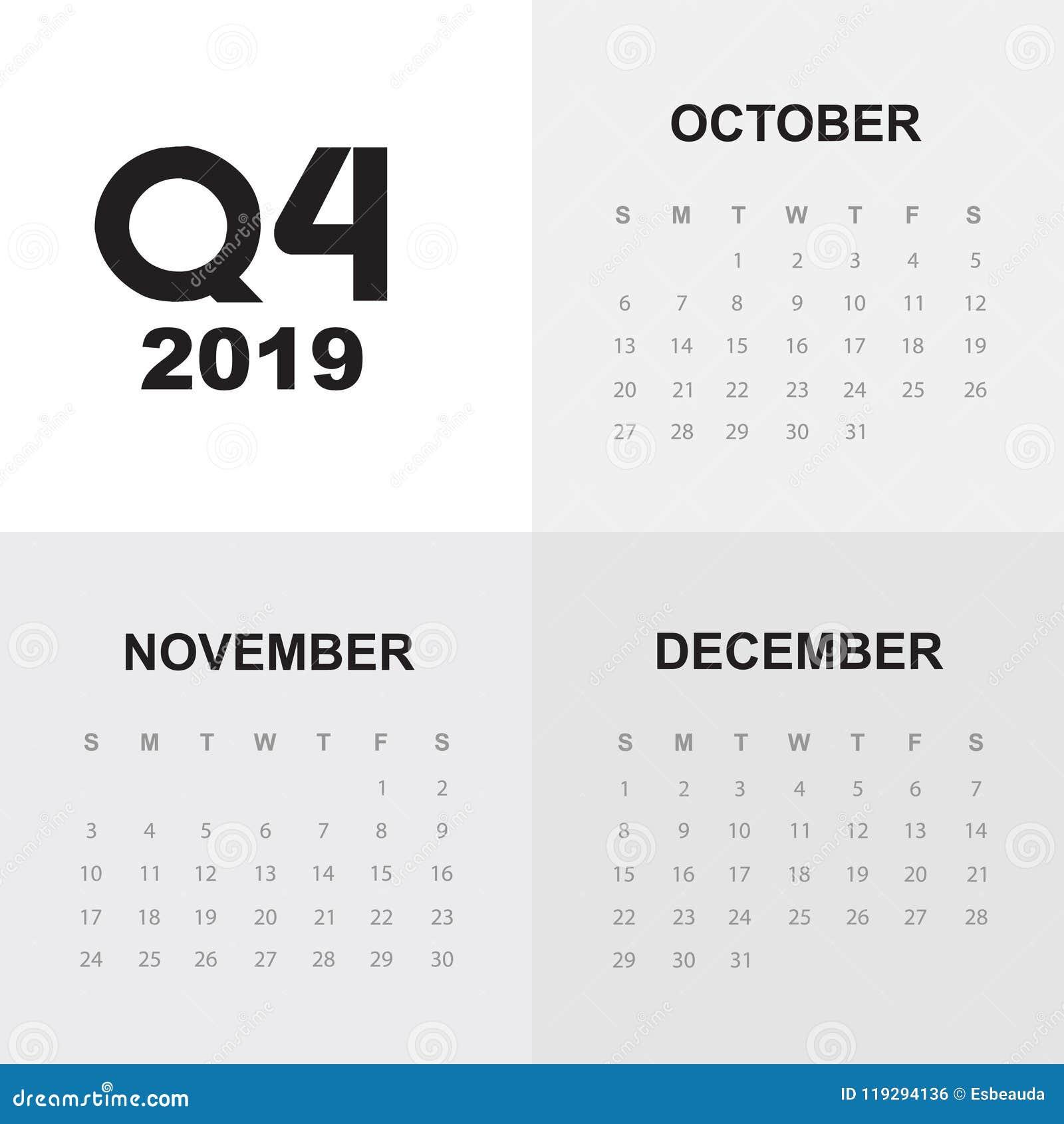 Calendario 2019 Moderno.Quarto Trimestre Del Calendario 2019 Illustrazione Di Stock