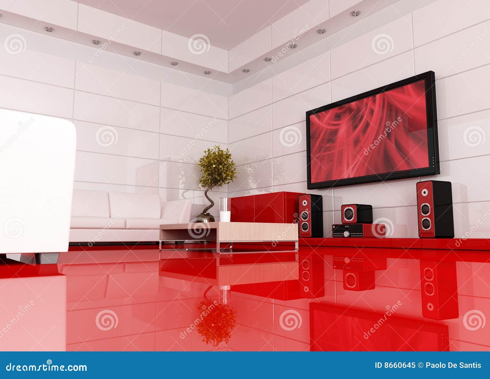 Quarto Vermelho E Branco Do Cinema Foto de Stock Royalty  ~ Quarto Casal Branco E Vermelho