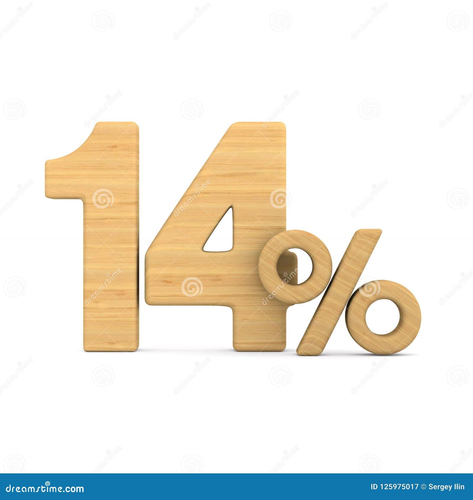 Quatorze pour cent sur le fond blanc Illustration 3d d isolement