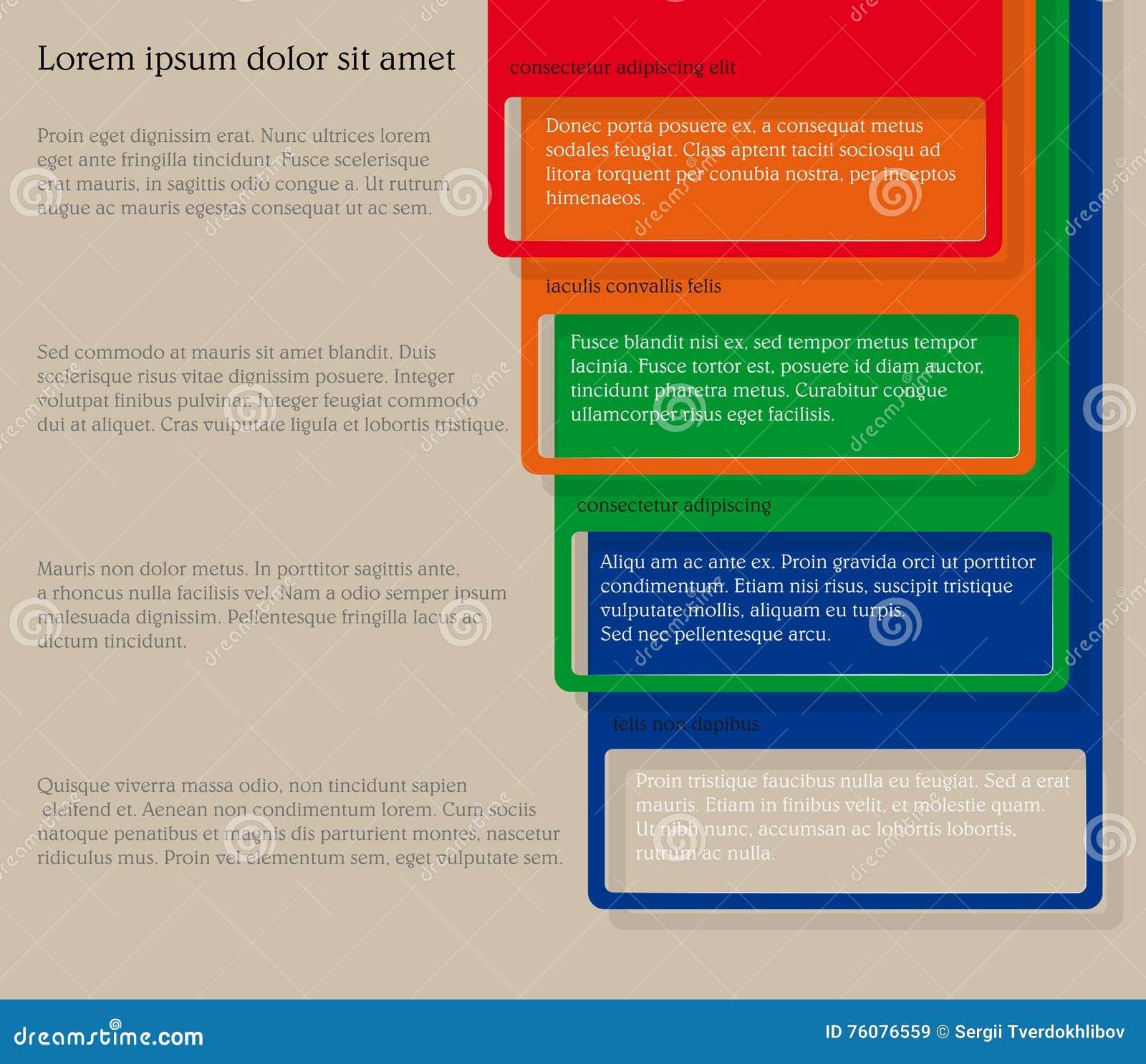 Quatre éléments consécutifs de cadre avec un bon nombre de pièce pour le texte et les descriptions