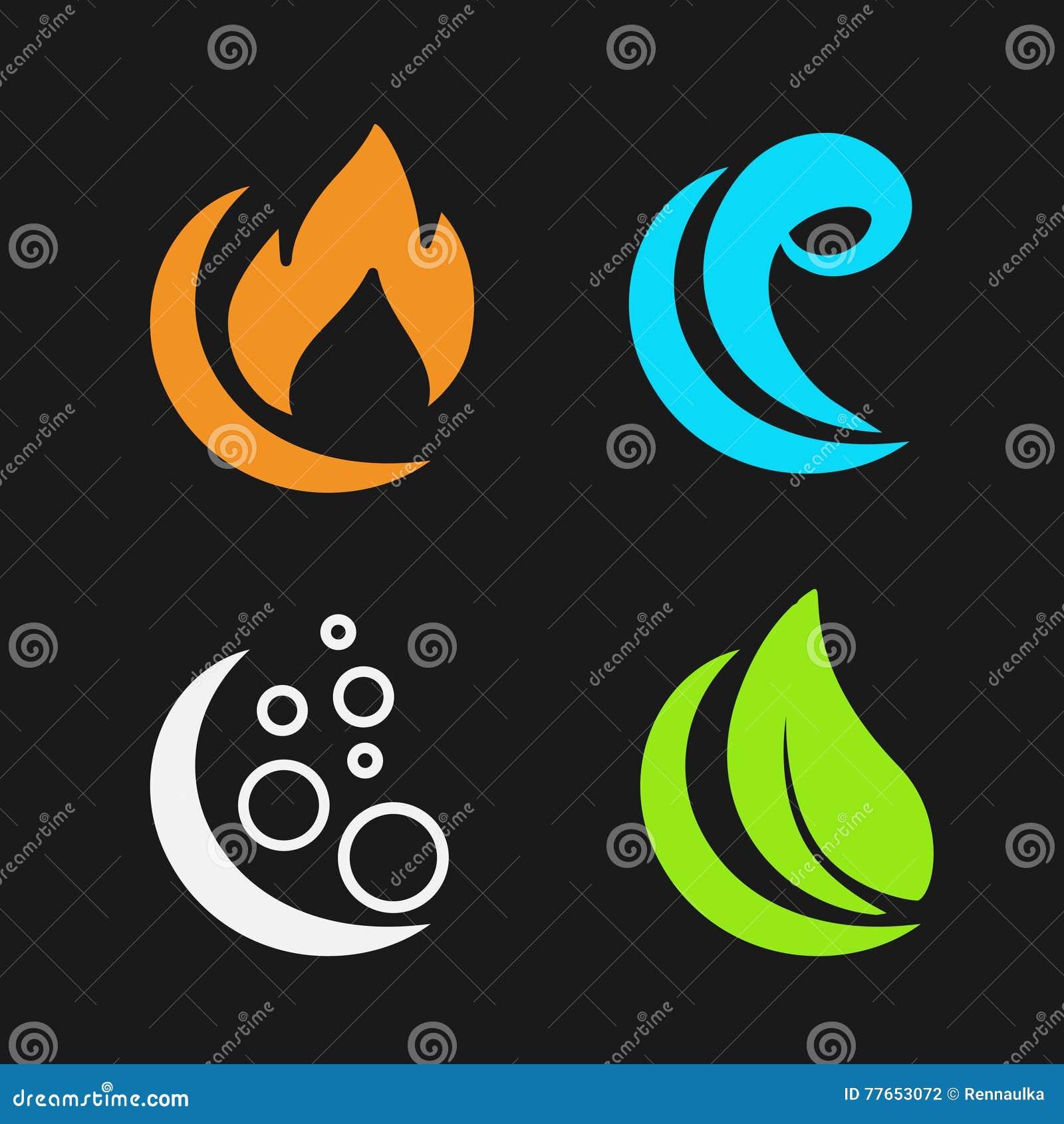 quatre l ments naturels le feu air l 39 eau la terre symboles de nature avec la flamme l. Black Bedroom Furniture Sets. Home Design Ideas