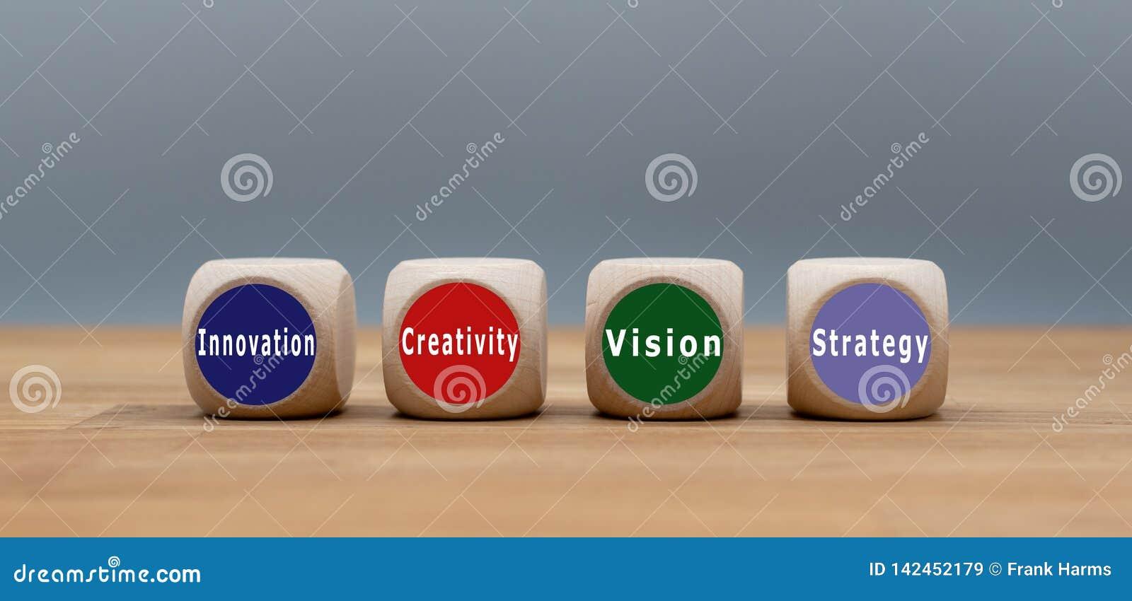 """Quatre cubes avec le texte """"innovation, créativité, vision et stratégie """""""