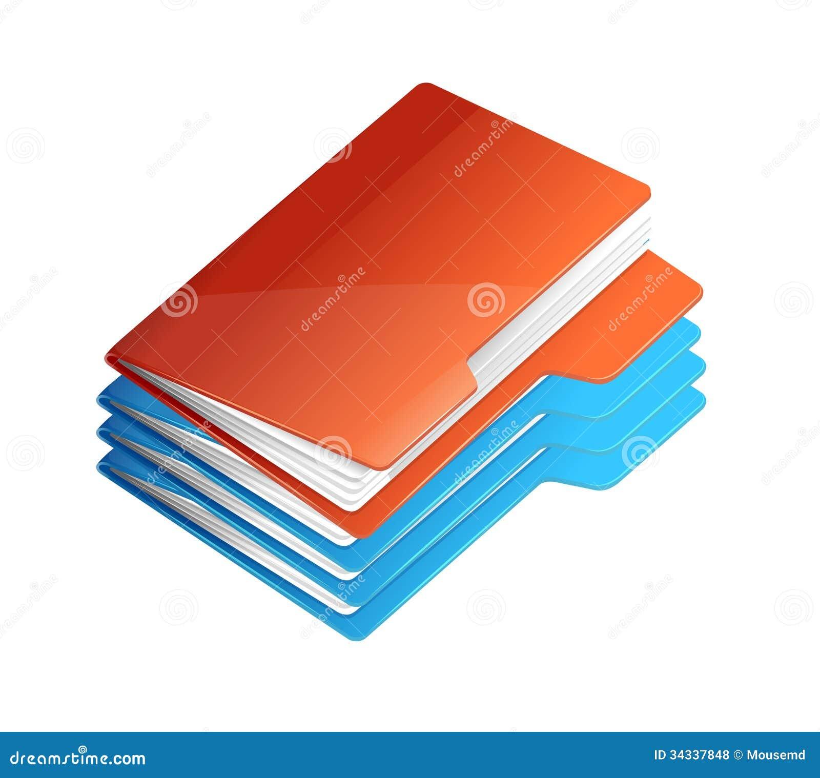 quatre dossiers avec le papier pile de dossier photos libres de droits image 34337848