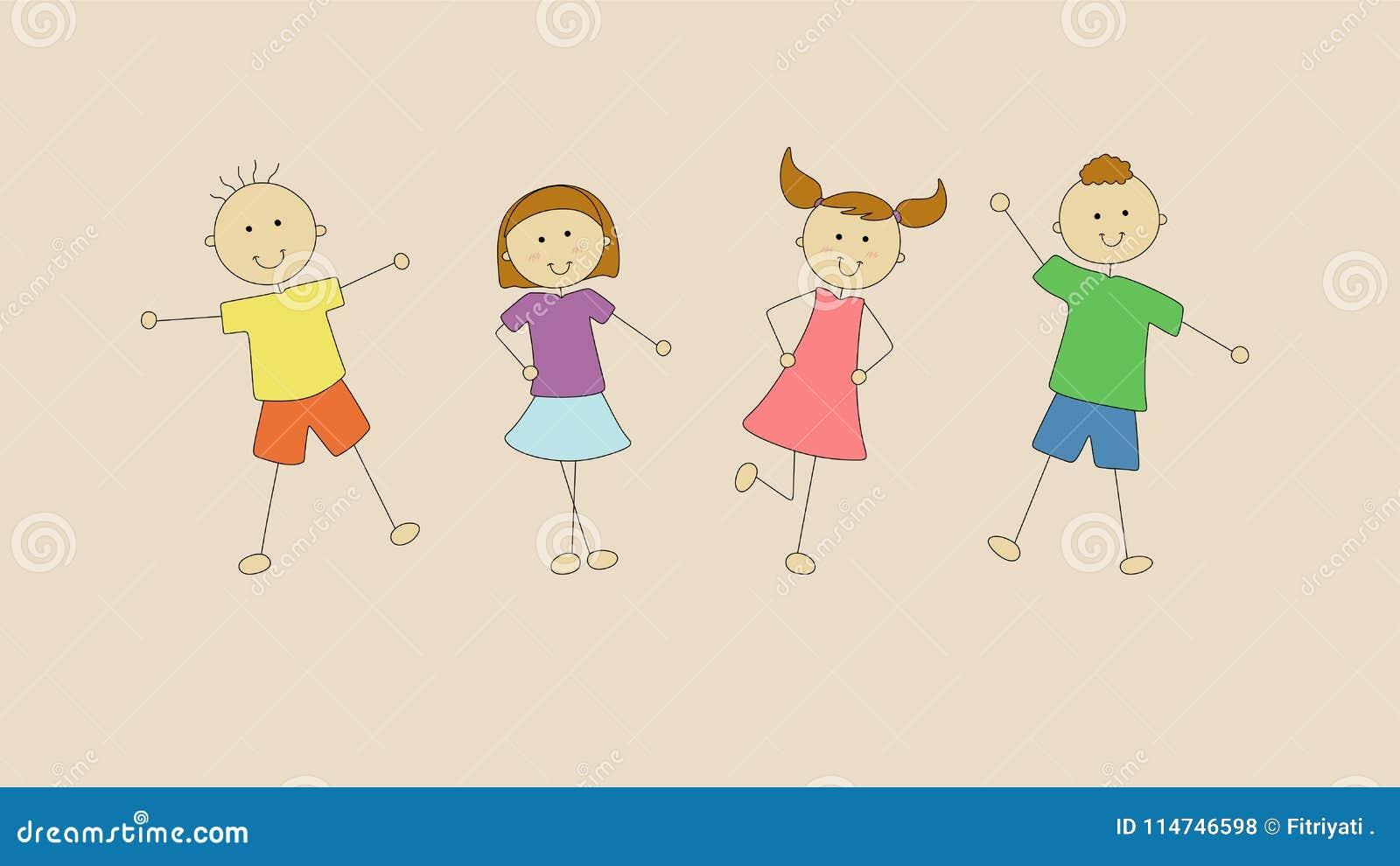 Quatre enfants heureux veulent jouer ensemble