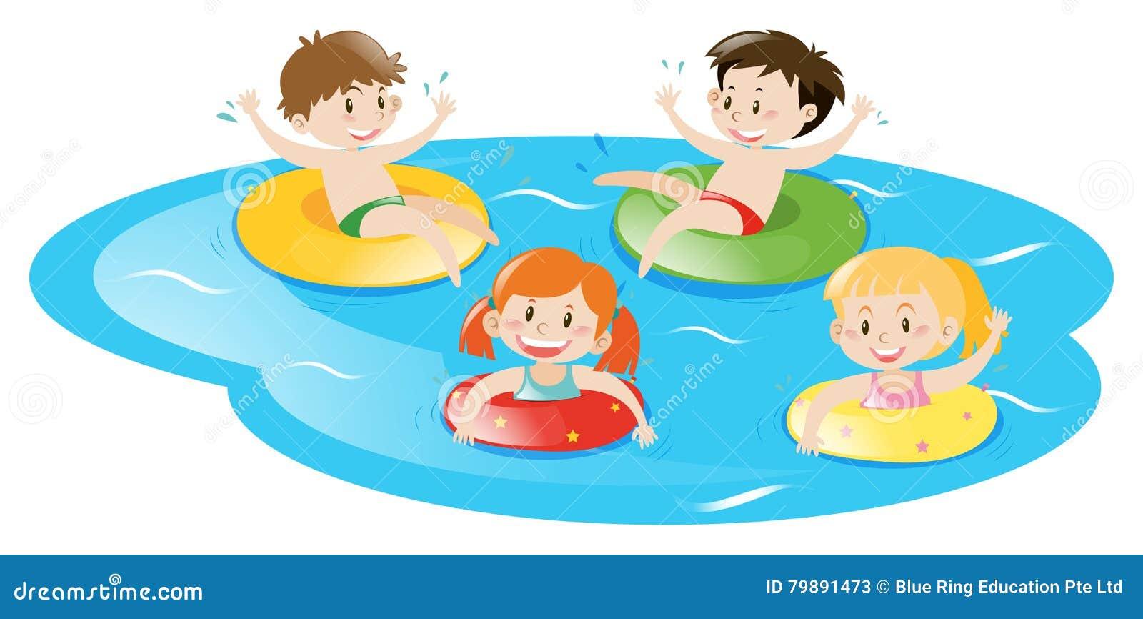 Quatre enfants nageant dans la piscine illustration de - Clipart piscine ...