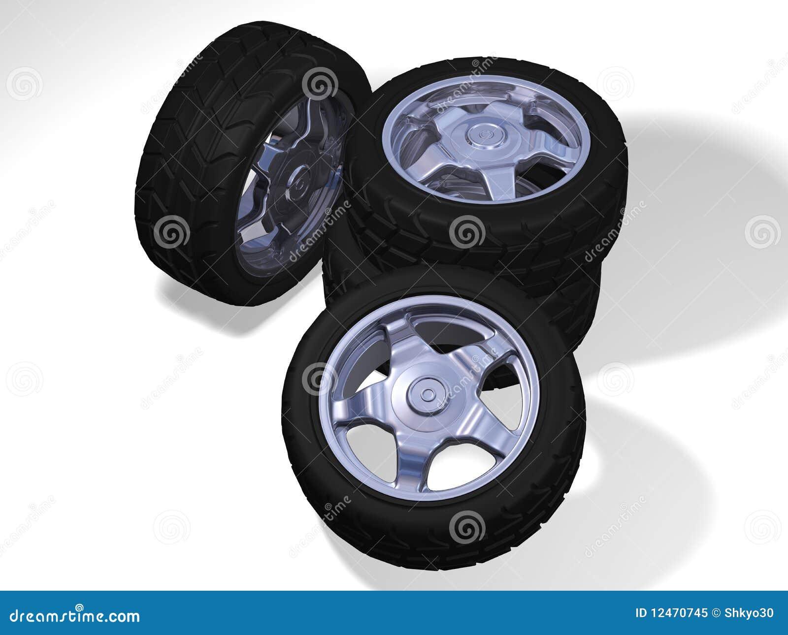 Quatre grandes roues avec des pneus