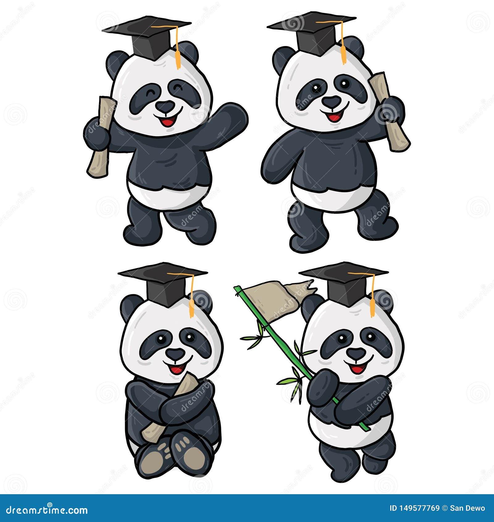 Quatre illustrations d obtention du diplôme de panda