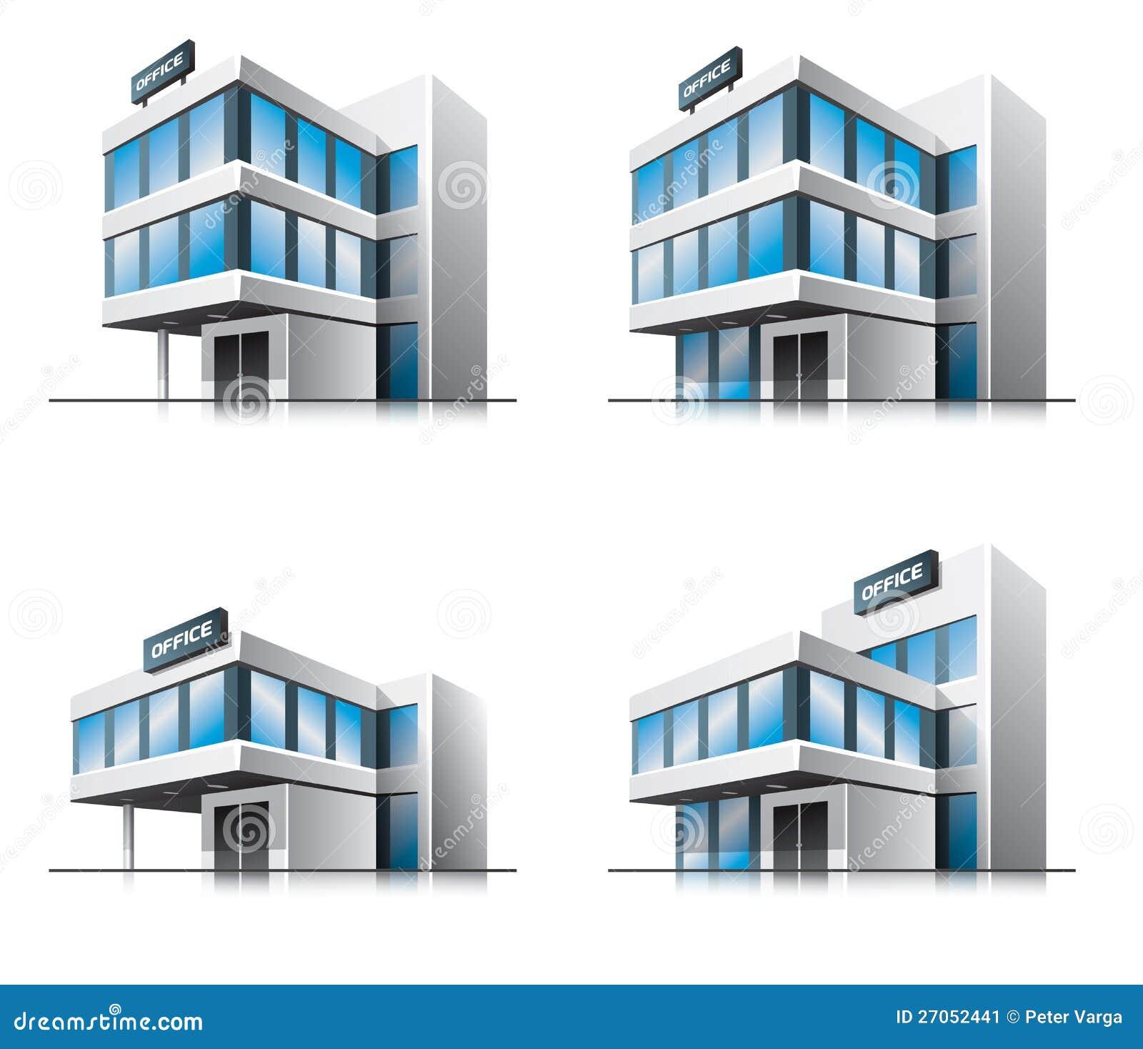 quatre immeubles de bureaux de dessin anim image stock image 27052441. Black Bedroom Furniture Sets. Home Design Ideas