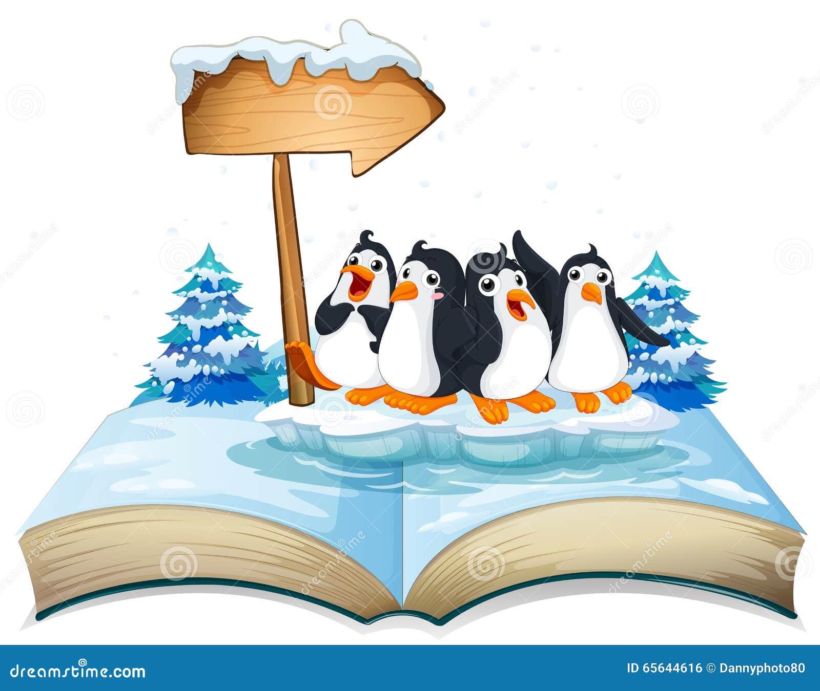 Quatre pingouins se tenant sur la glace