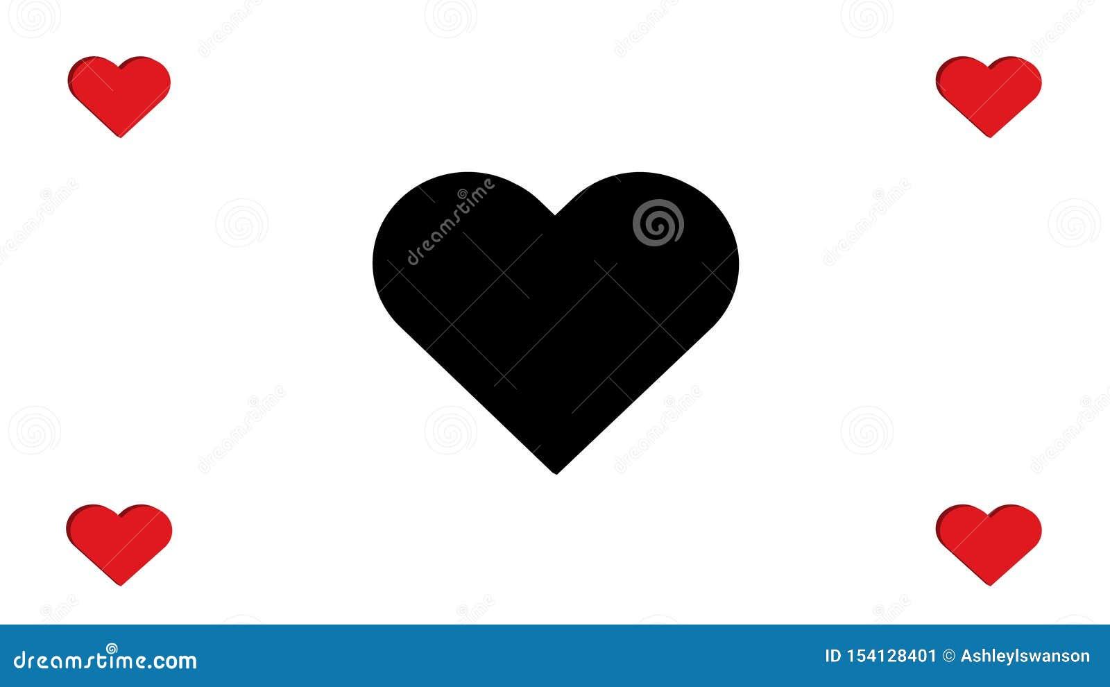 Quatre rouges et noirs de 3D de coeur de coeurs conception simple d illustration de vecteur d amour du multiple