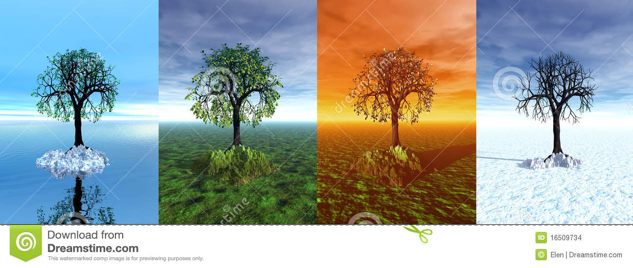 Quatre saisons arbre dessin 3d illustration stock - Dessin 4 saisons ...