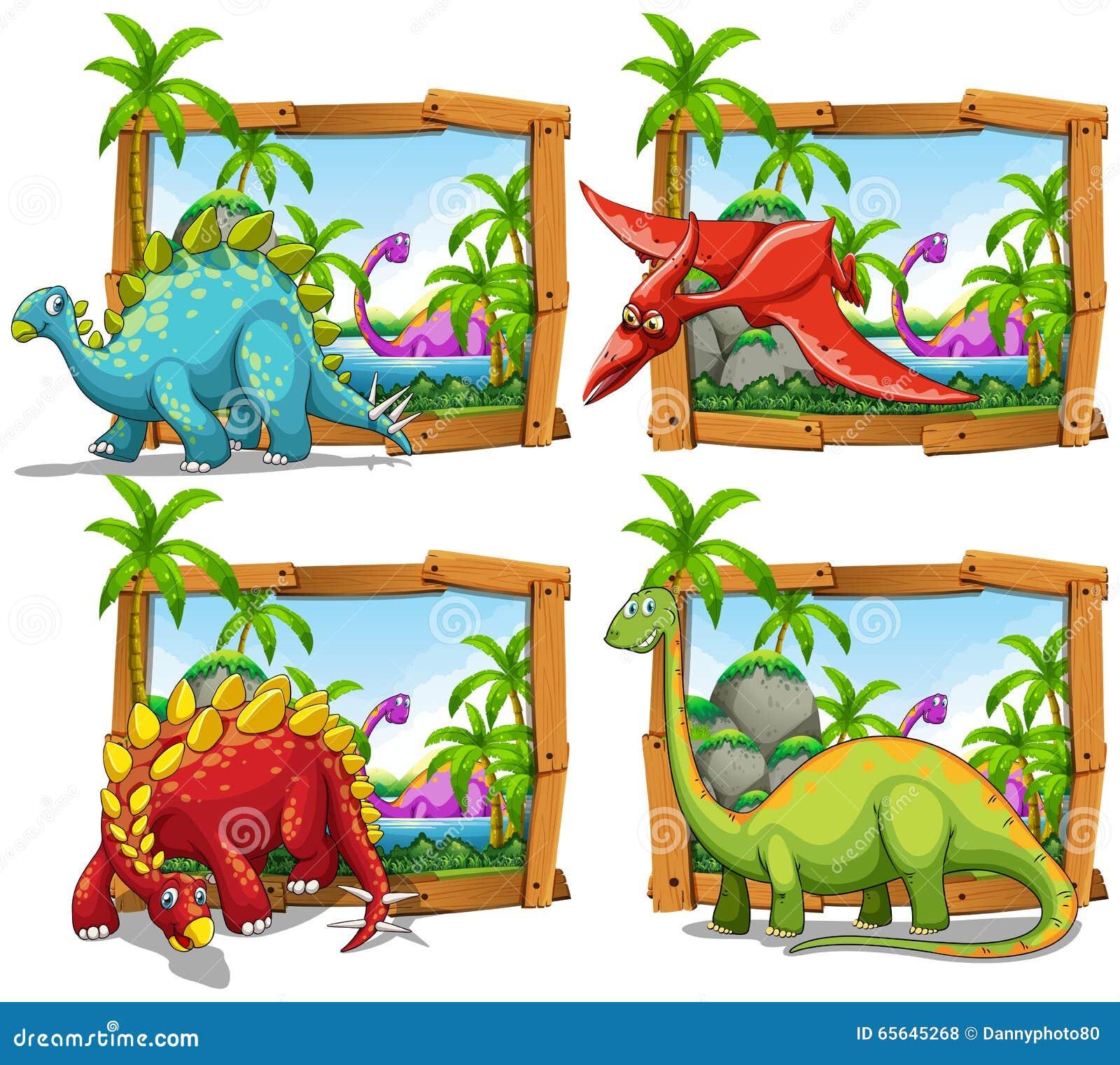 Quatre scènes des dinosaures par le lac