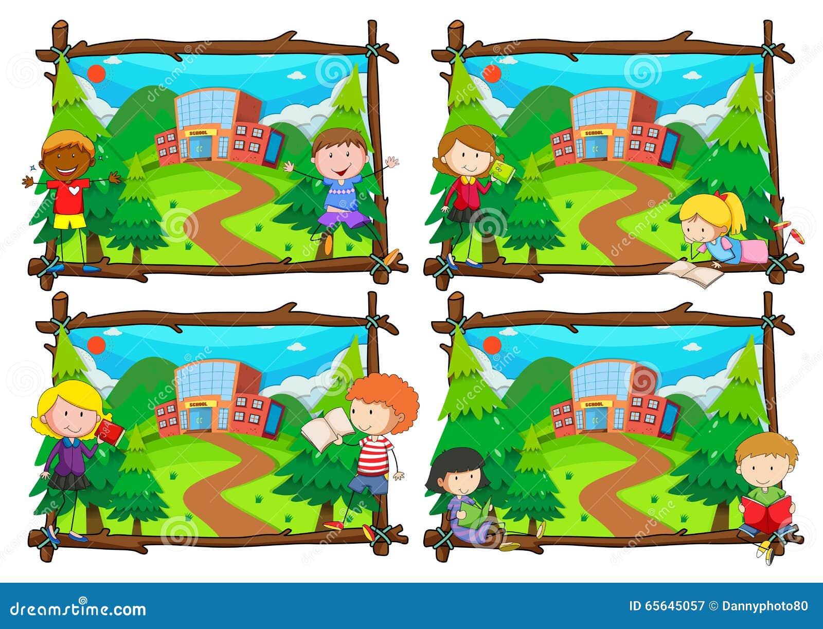 Quatre scènes des enfants allant à l école
