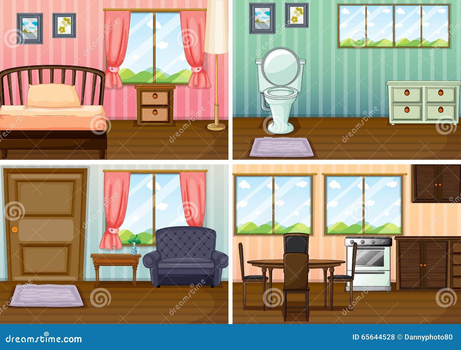 Quatre scènes des salles dans la maison